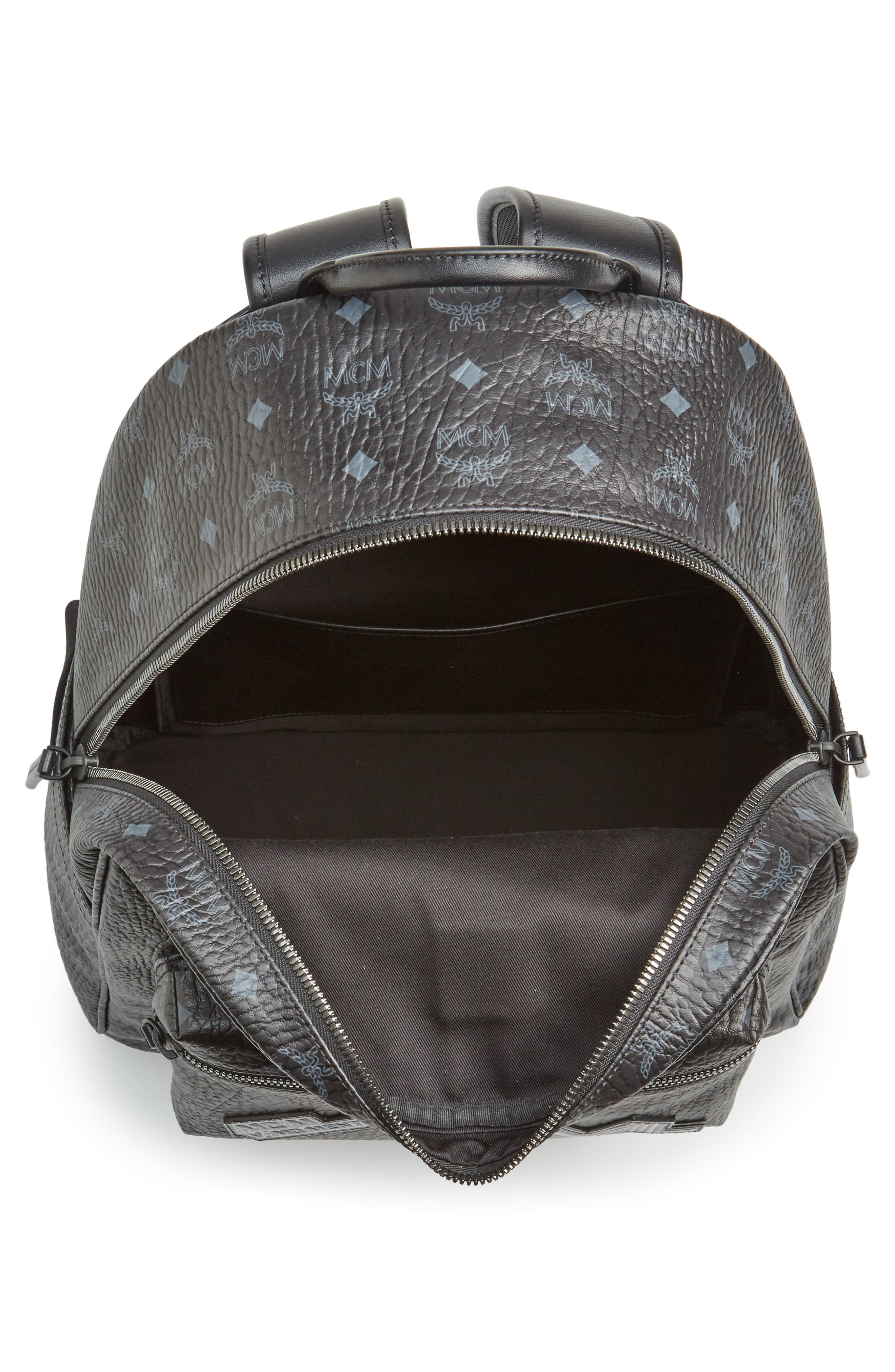 Stark Visetos Patch Faux Leather Backpack,                             Alternate thumbnail 3, color,                             Black