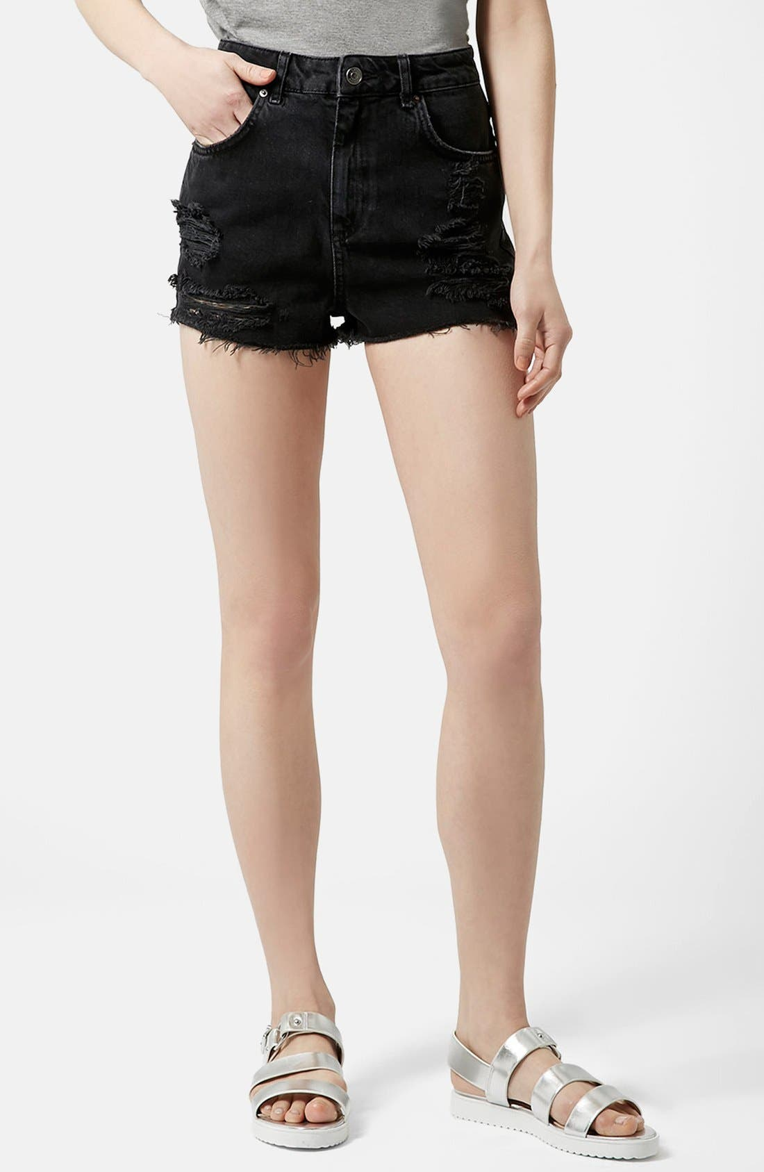 Alternate Image 1 Selected - Topshop Moto Ripped Shorts (Black)