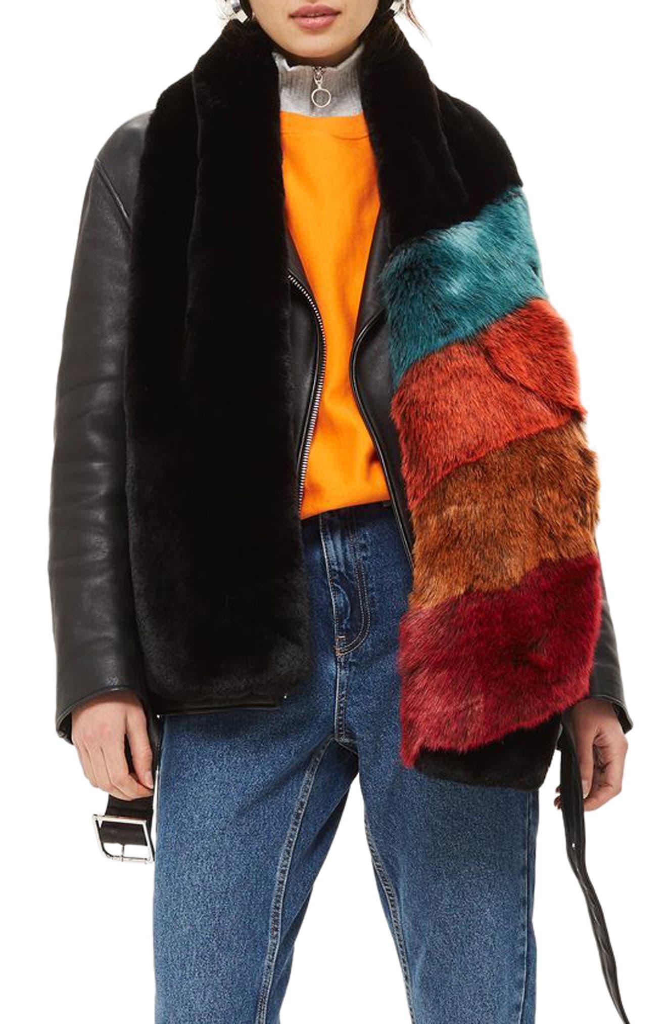 Colorblock Faux Fur Scarf,                             Main thumbnail 1, color,                             Black Multi