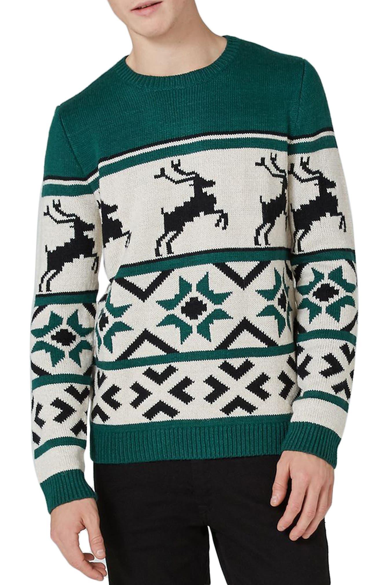 Topman Fair Isle Reindeer Sweater