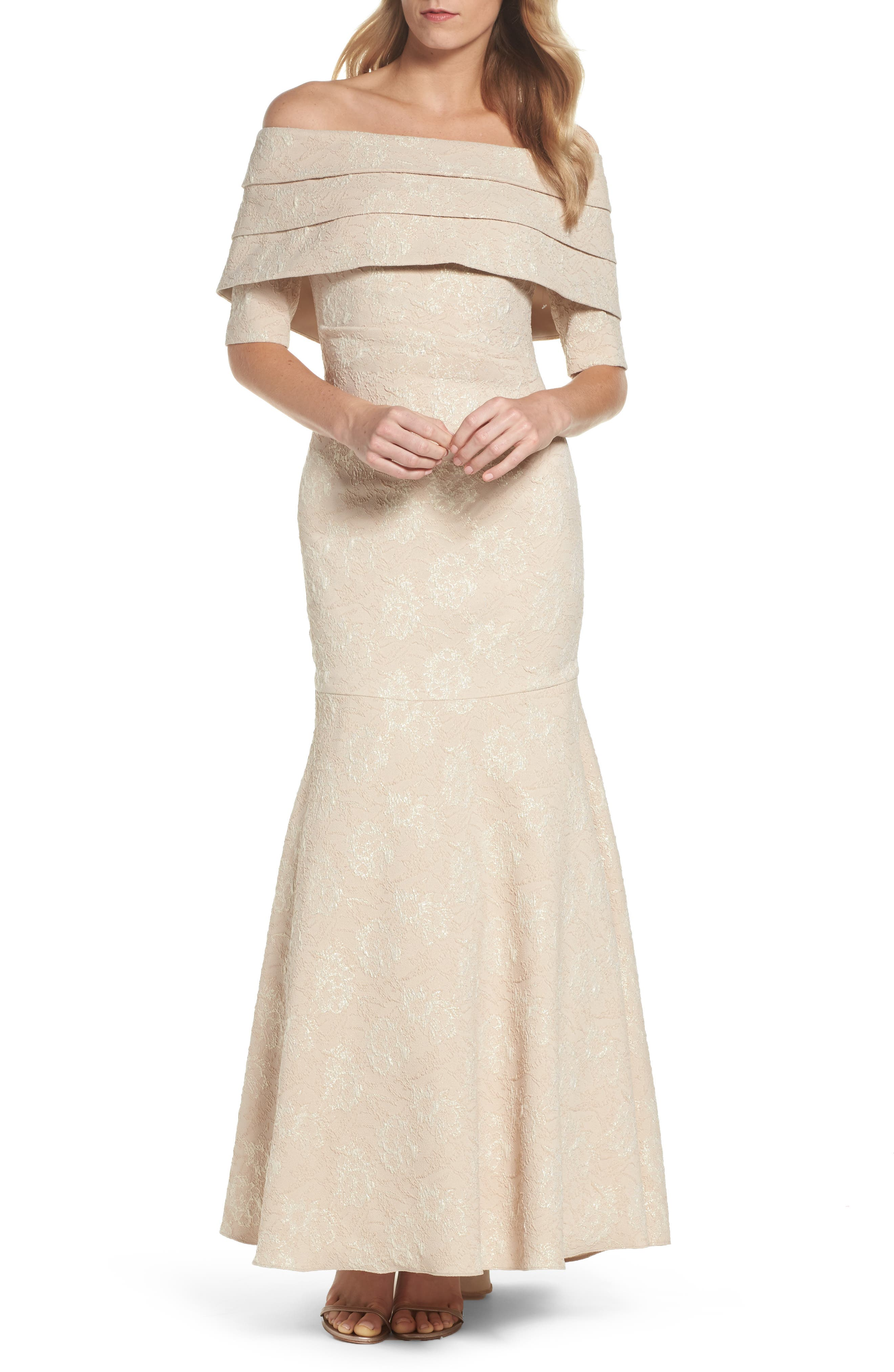 Brocade Off the Shoulder Trumpet Gown,                             Main thumbnail 1, color,                             Champagne