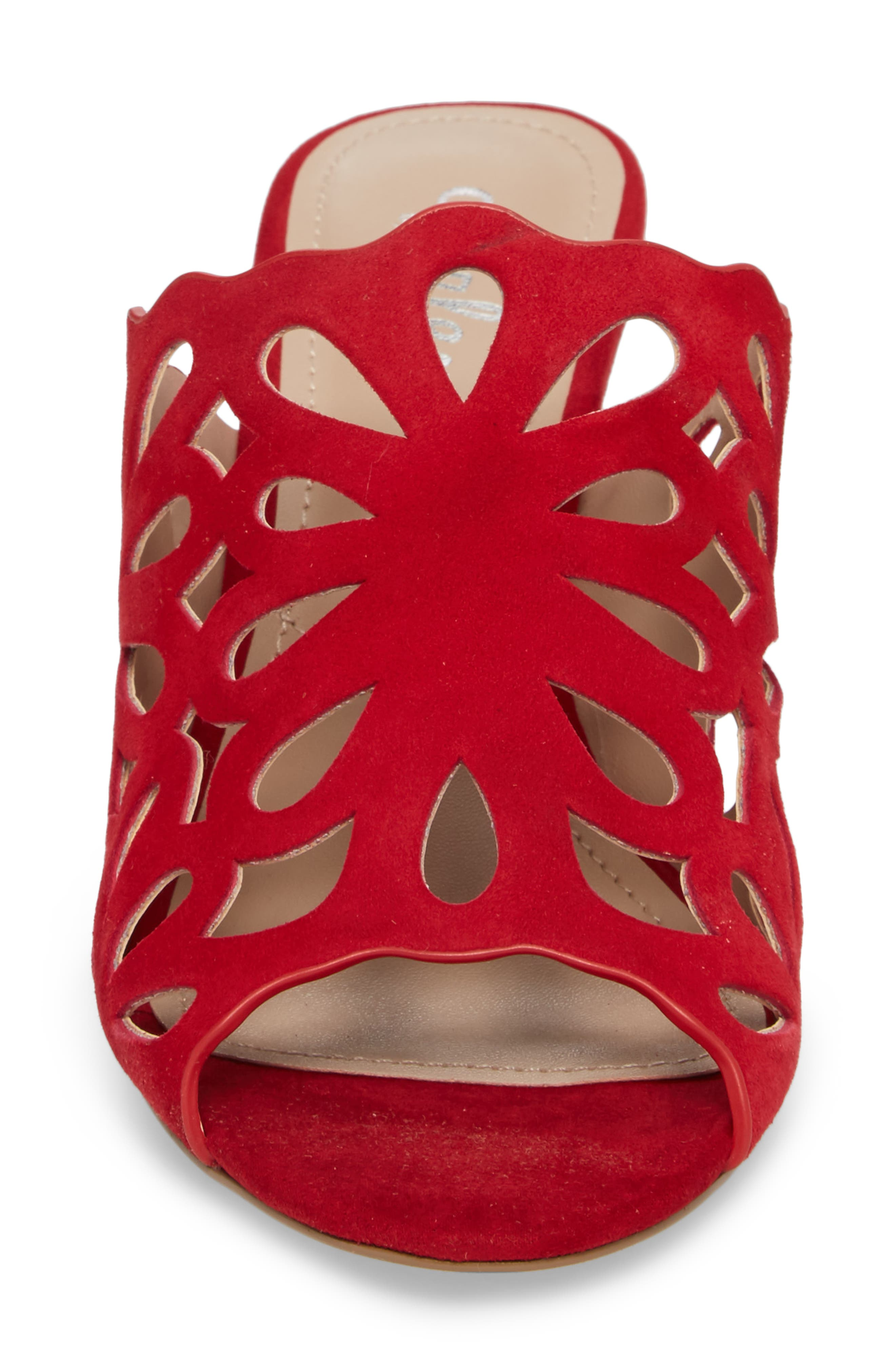 Nicki Perforated Open Toe Mule,                             Alternate thumbnail 4, color,                             Scarlet Suede