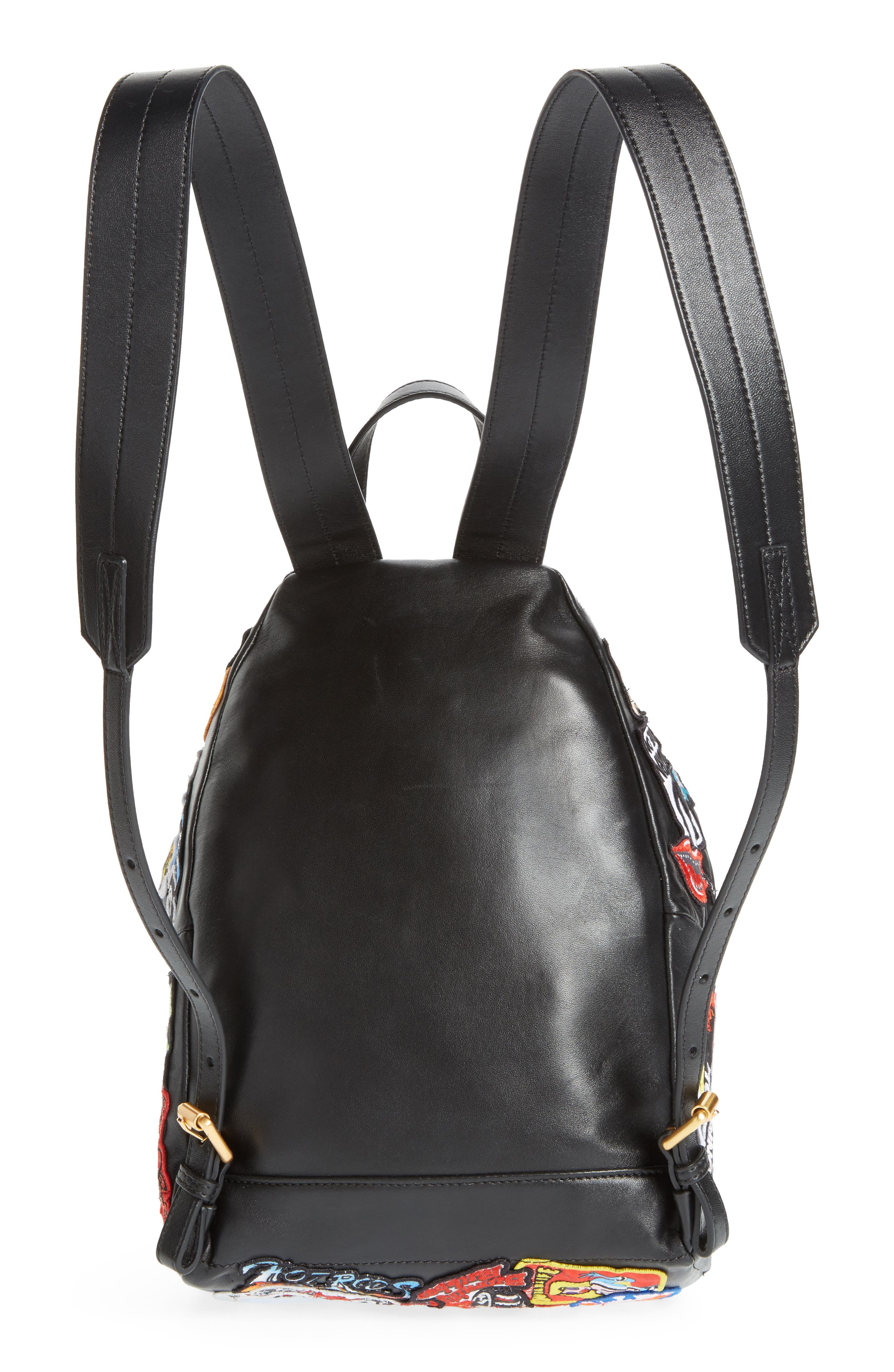 Multi Patch Leather Backpack,                             Alternate thumbnail 3, color,                             Black Multi