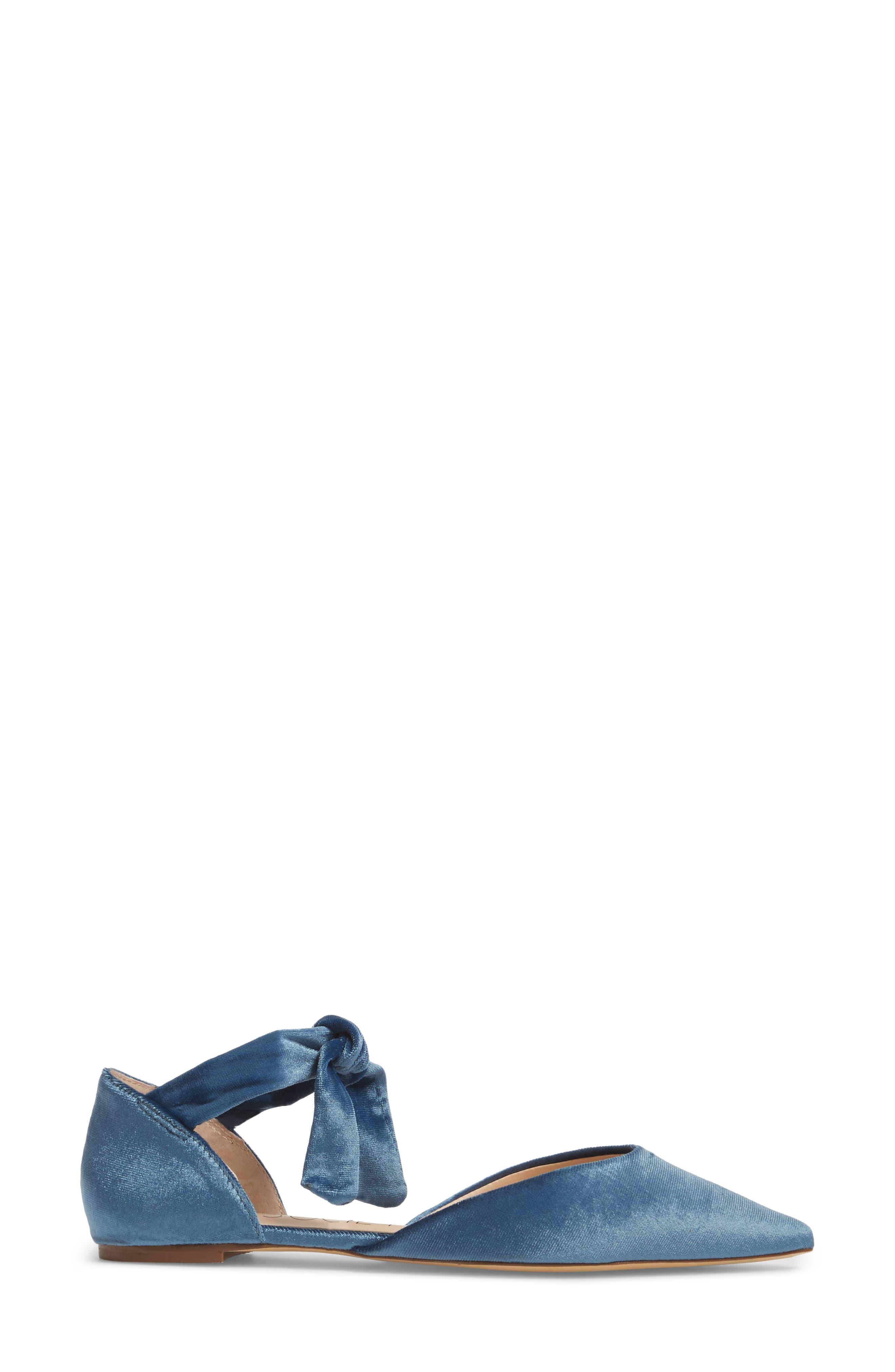 Teena d'Orsay Flat with Ties,                             Alternate thumbnail 3, color,                             Glacier Blue