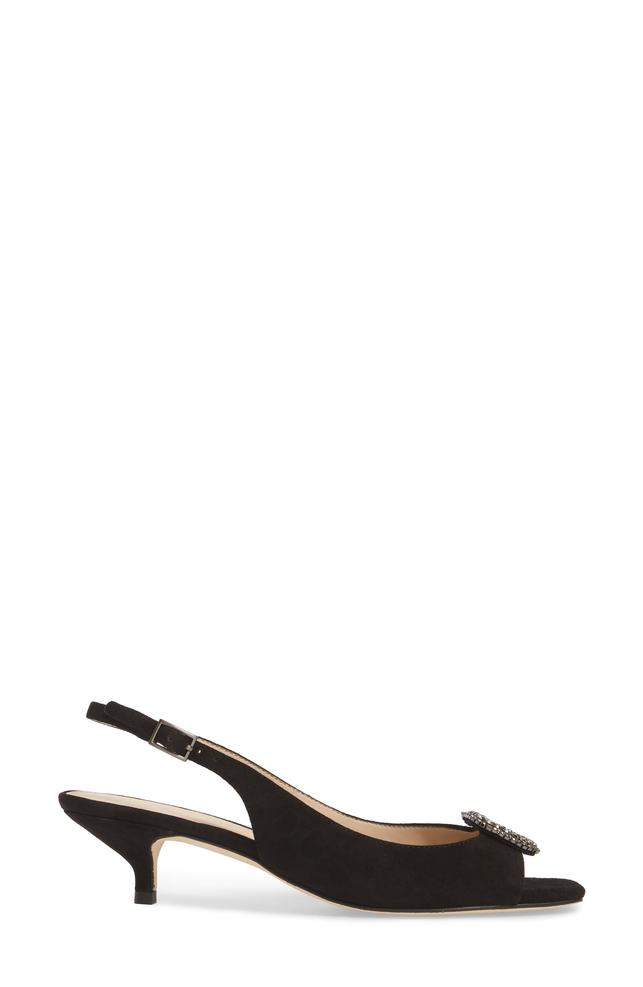Fresca Slingback Sandal,                             Alternate thumbnail 3, color,                             Black Suede