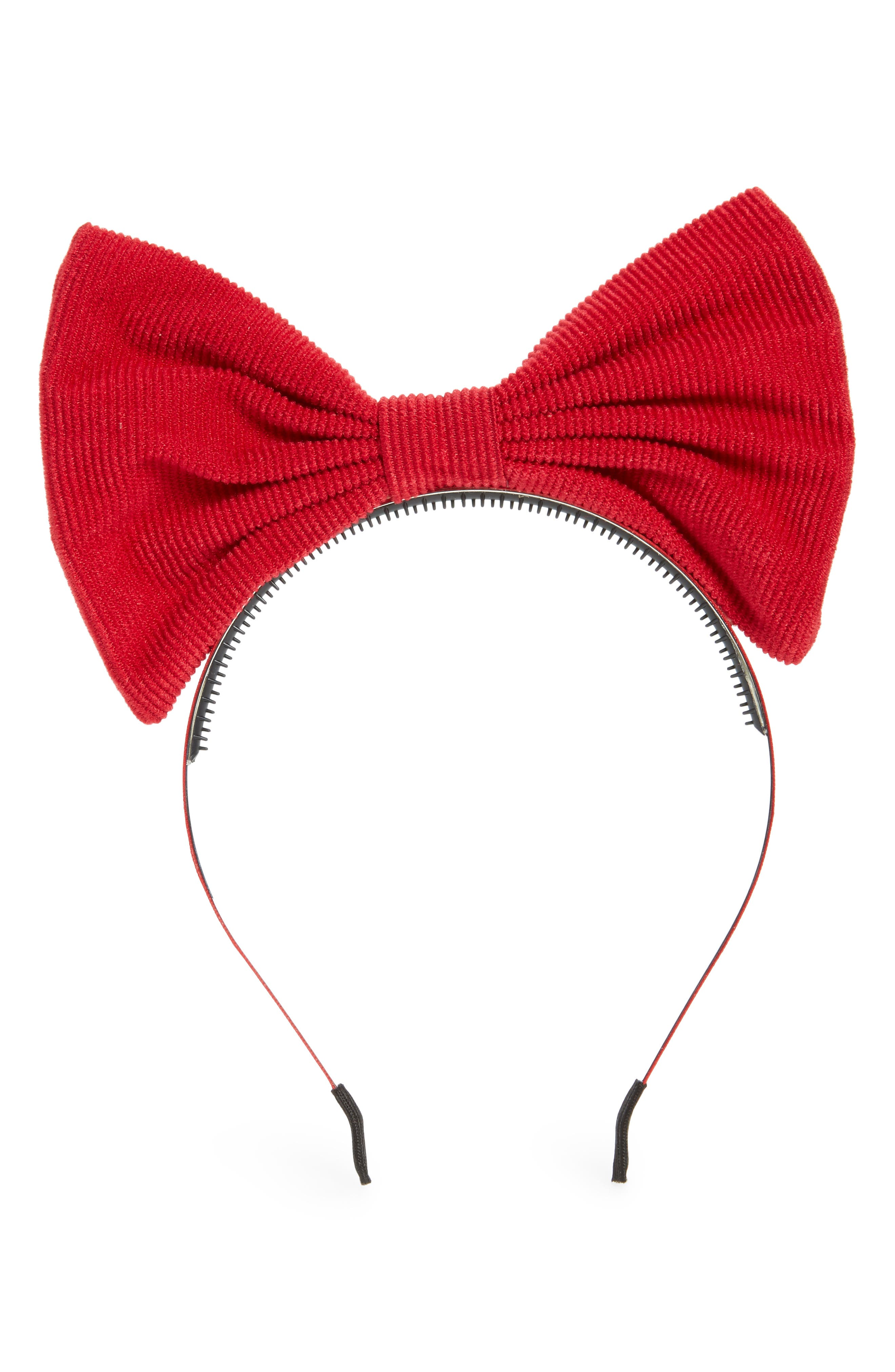 Manière Corduroy Bow Headband,                             Main thumbnail 1, color,                             Red