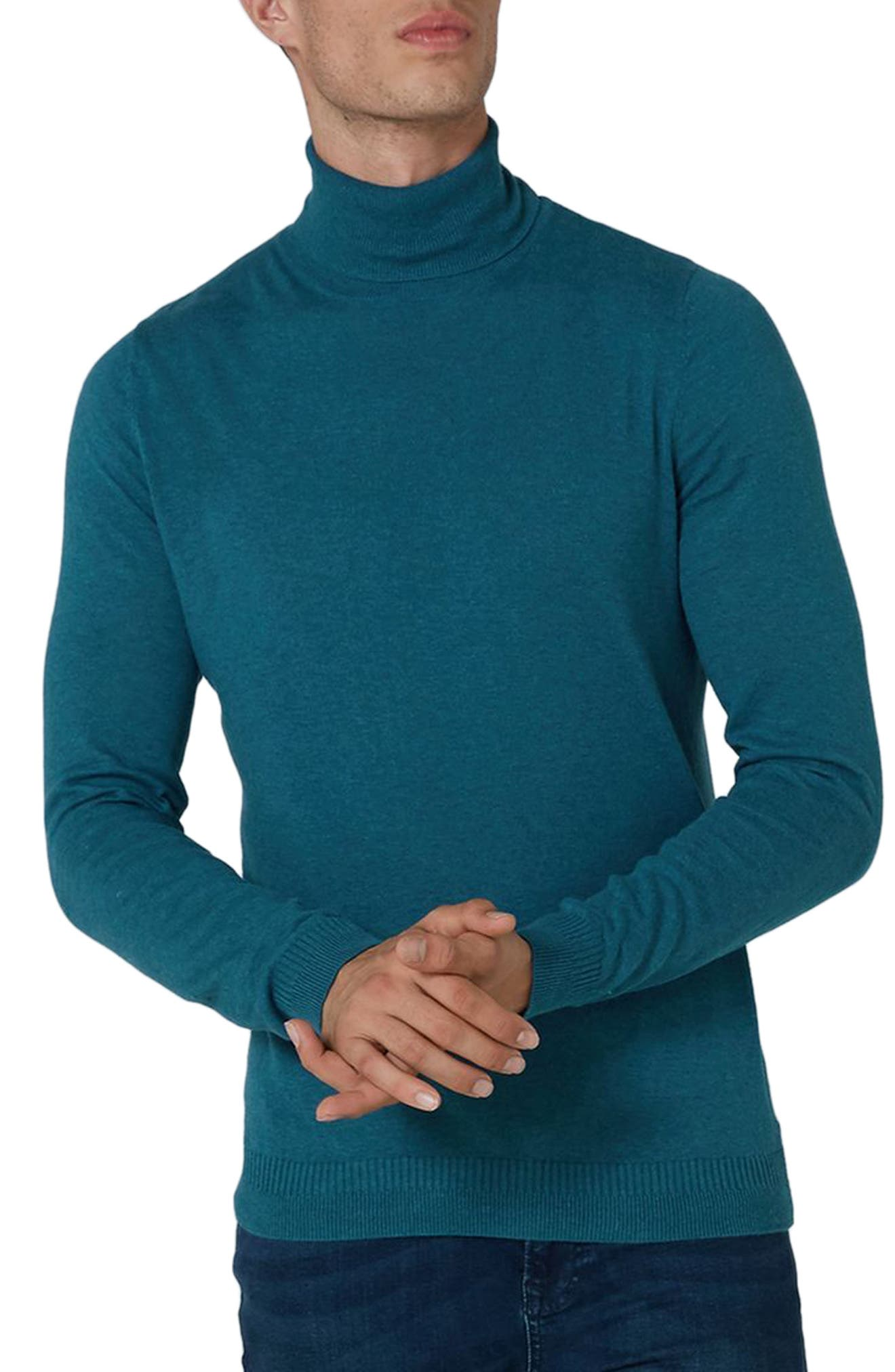 Cotton Turtleneck Sweater,                         Main,                         color, Blue