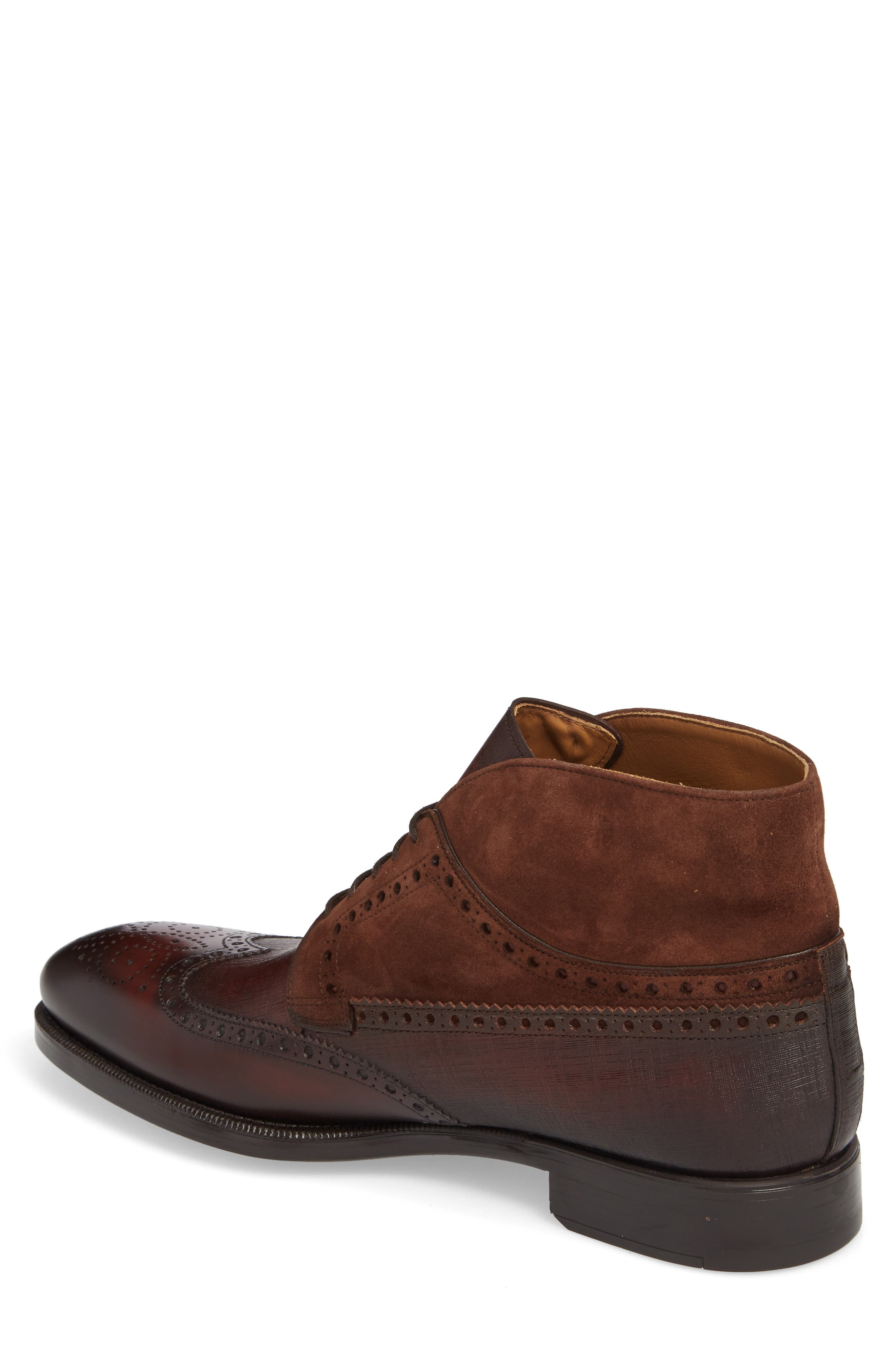 Saxon Wingtip Boot,                             Alternate thumbnail 2, color,                             Mid-Brown Leather