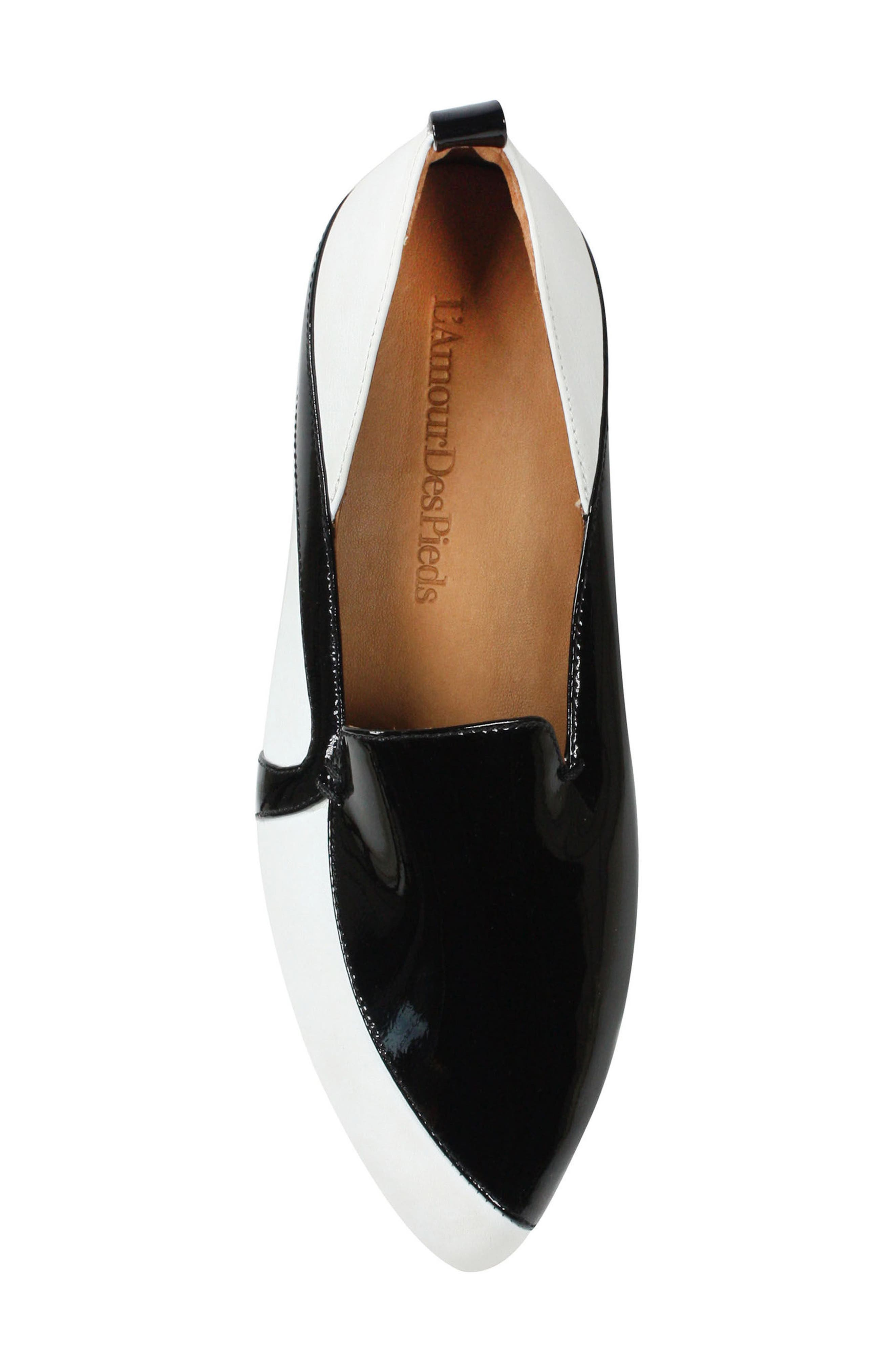 Marjolaina Loafer,                             Alternate thumbnail 6, color,                             Black/ White Patent Leather