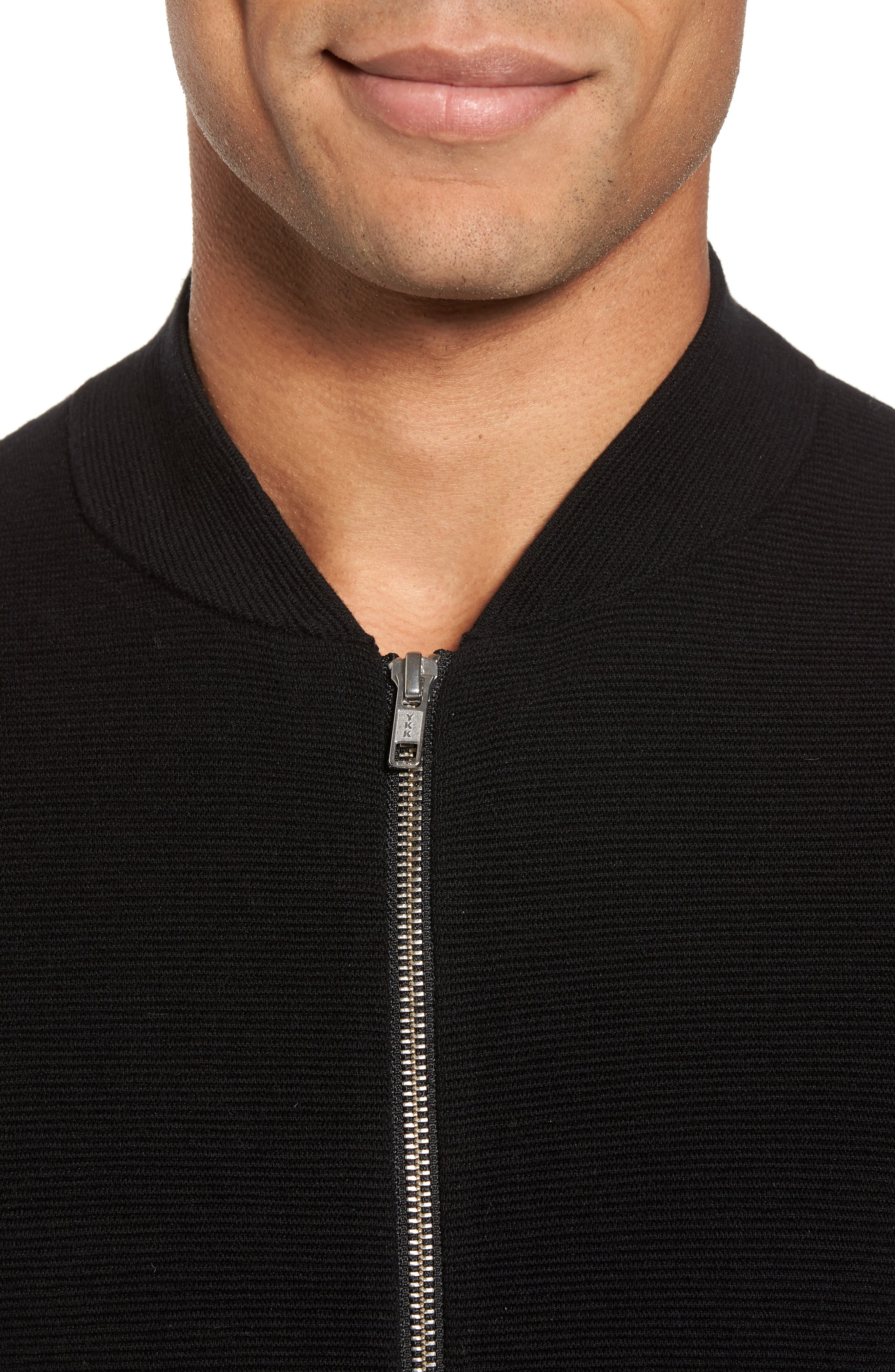 Ottoman Zip Cardigan,                             Alternate thumbnail 4, color,                             Black