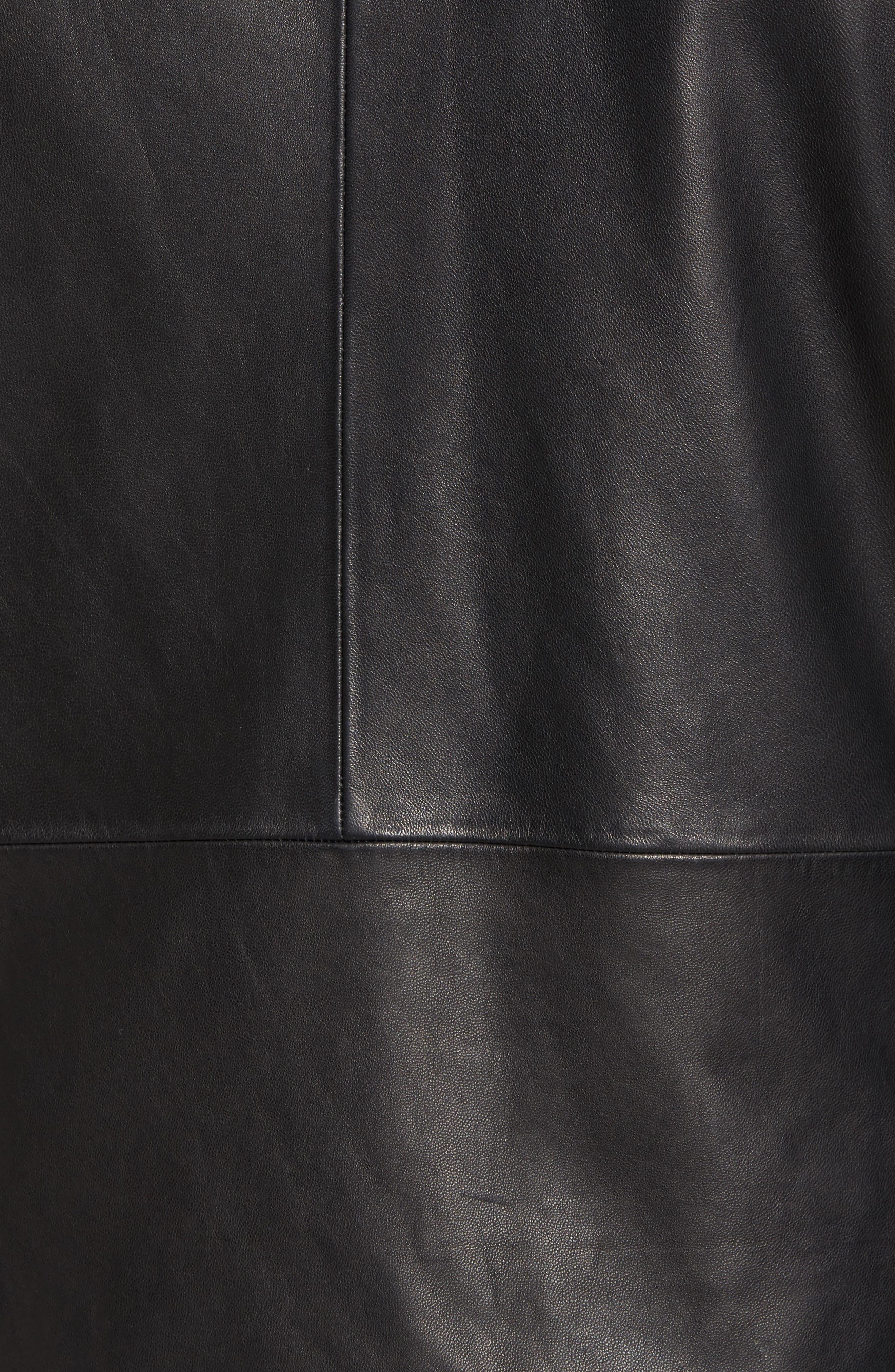 Hooded Leather Jacket,                             Alternate thumbnail 5, color,                             Black