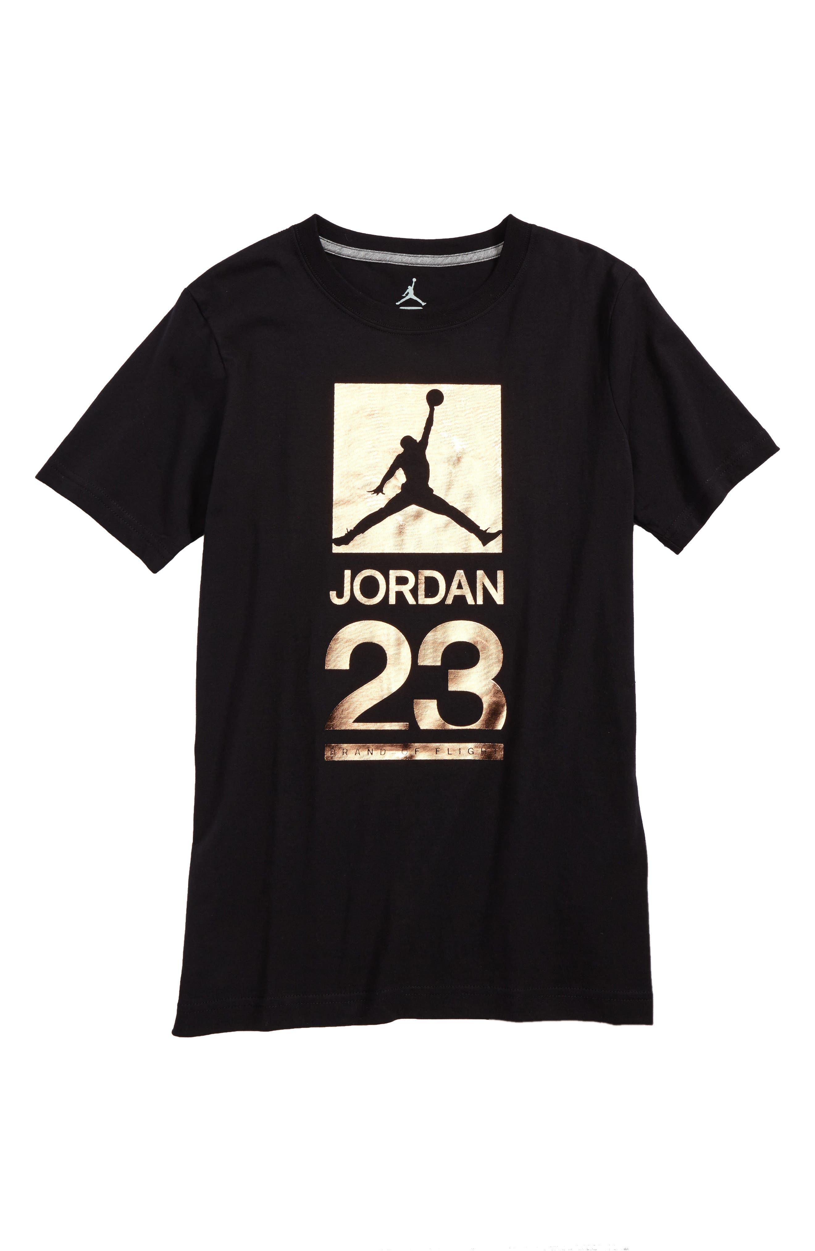 jordan clothing. jordan 23 metallic screenprint t-shirt (big boys) clothing