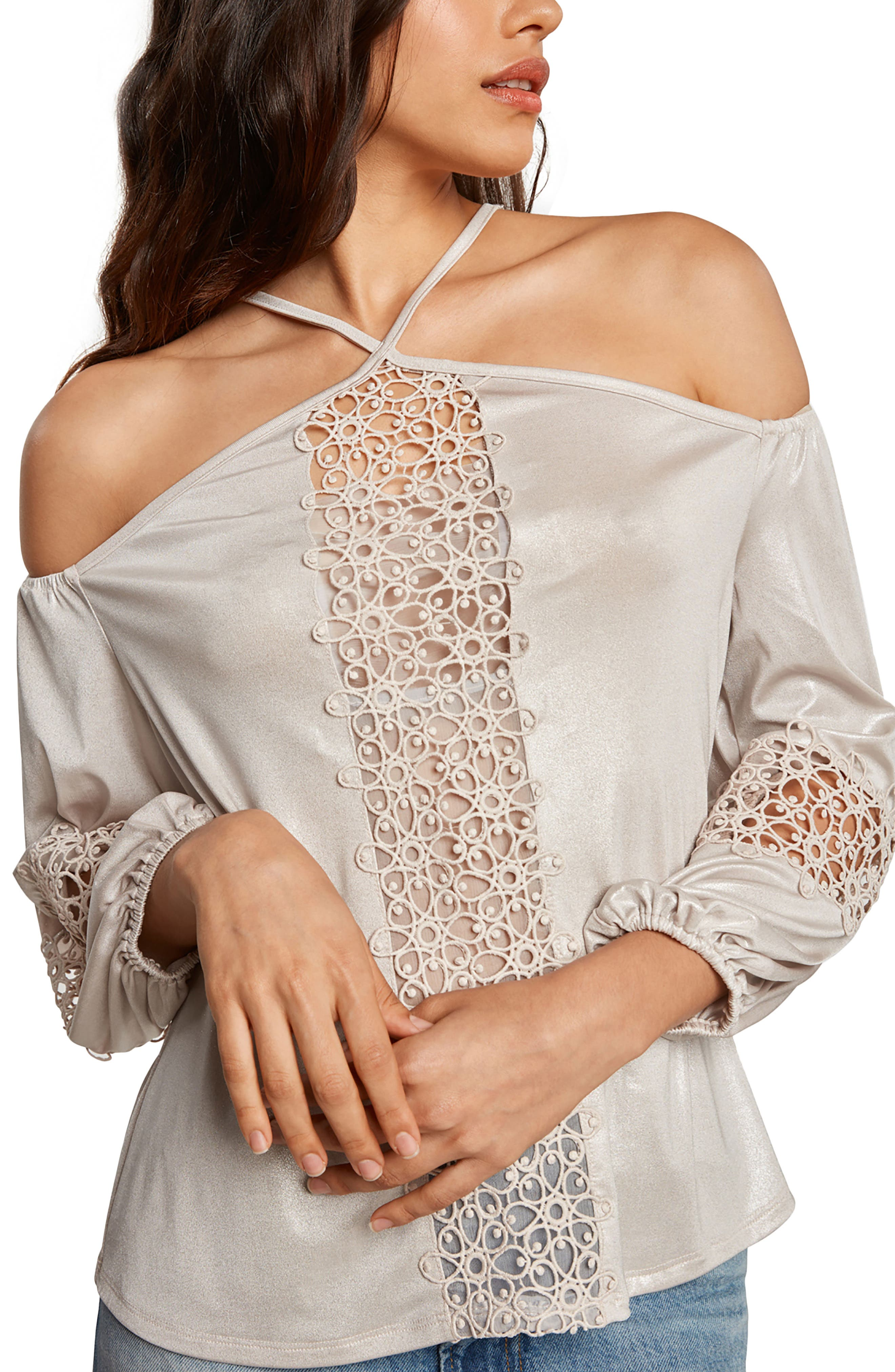 Knit Halter Blouse,                         Main,                         color, Pearl