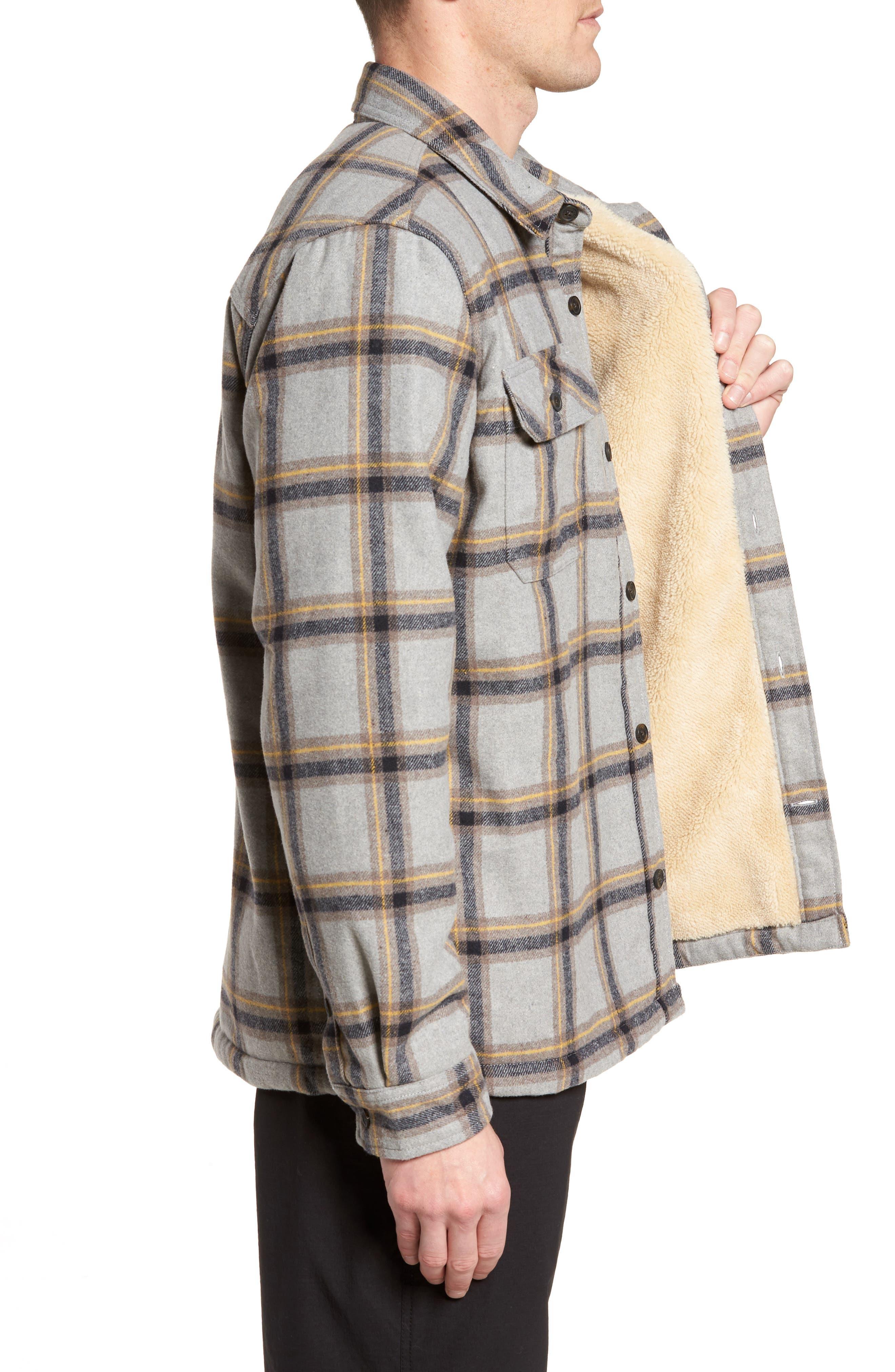 Tough Guy Plush Lined Flannel Shirt Jacket,                             Alternate thumbnail 3, color,                             Light Grey
