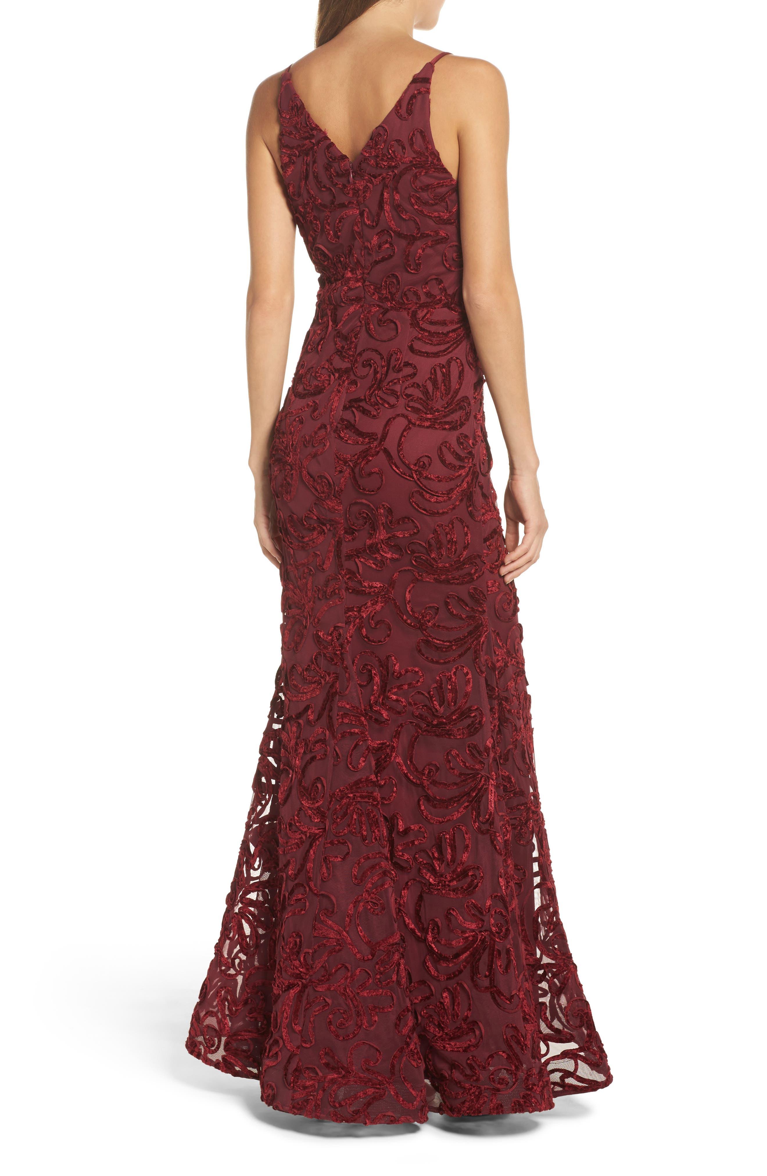 Flocked Velvet Gown,                             Alternate thumbnail 2, color,                             Wine