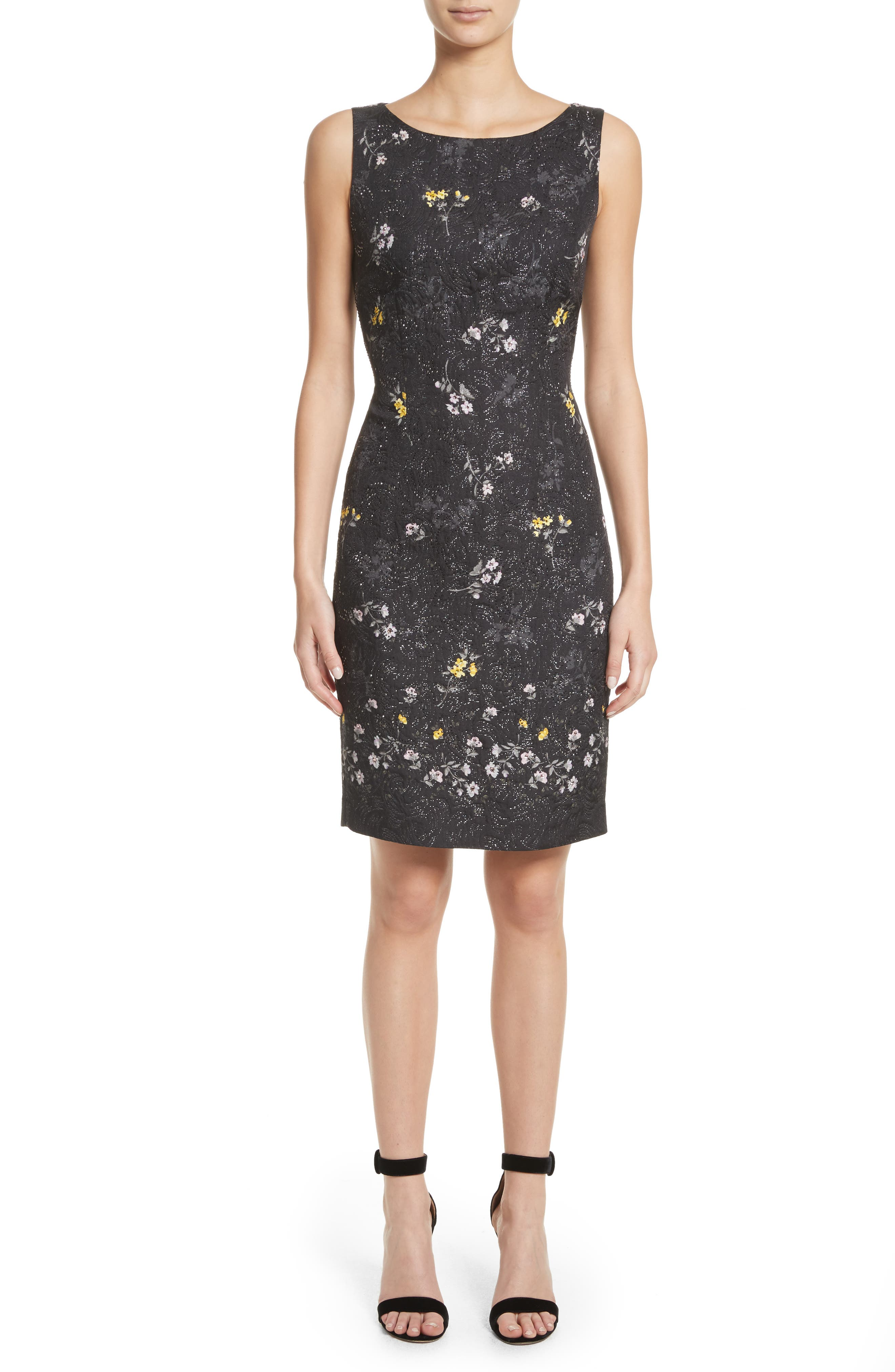 Falling Bouquet Metallic Matelassé Sheath Dress,                         Main,                         color, Caviar Multi