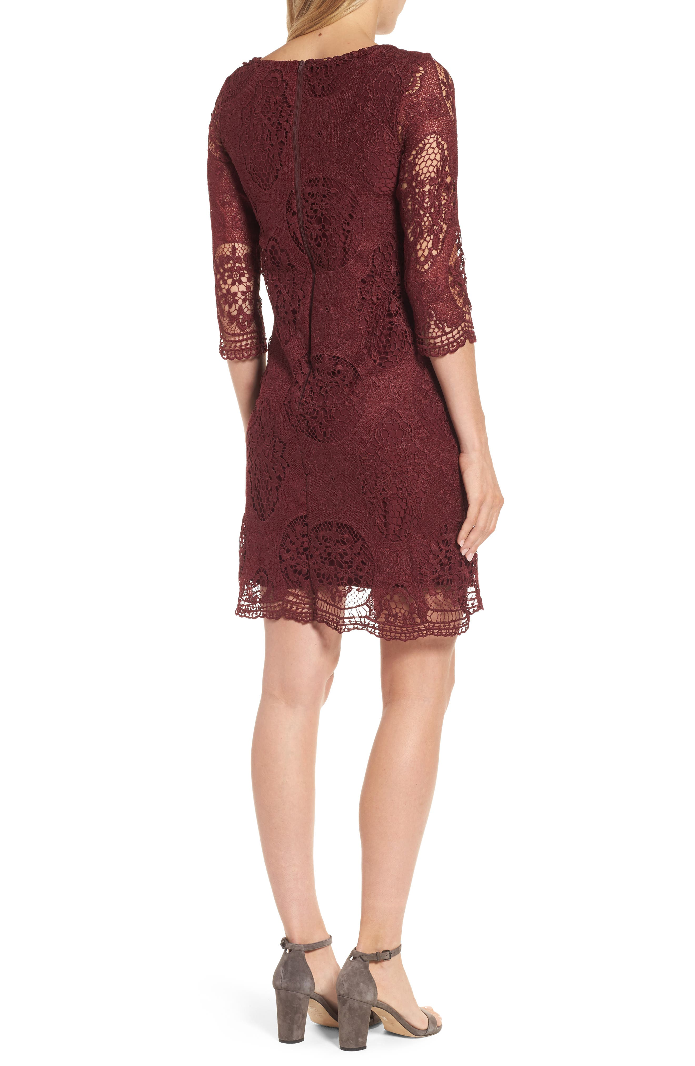 Lace Maternity Dress,                             Alternate thumbnail 2, color,                             Burgundy