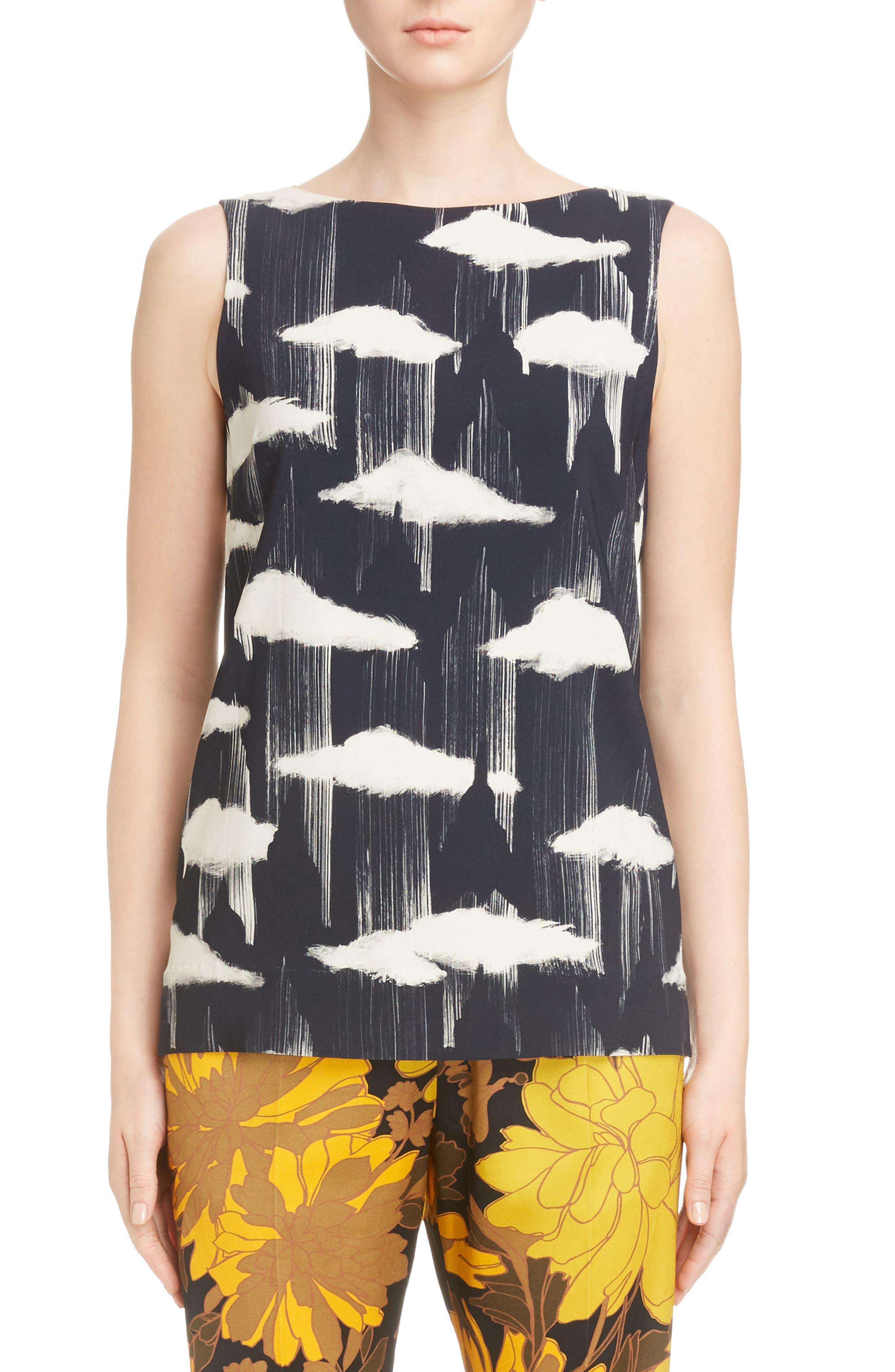 Cloud & Floral Print Blouse,                         Main,                         color, Black