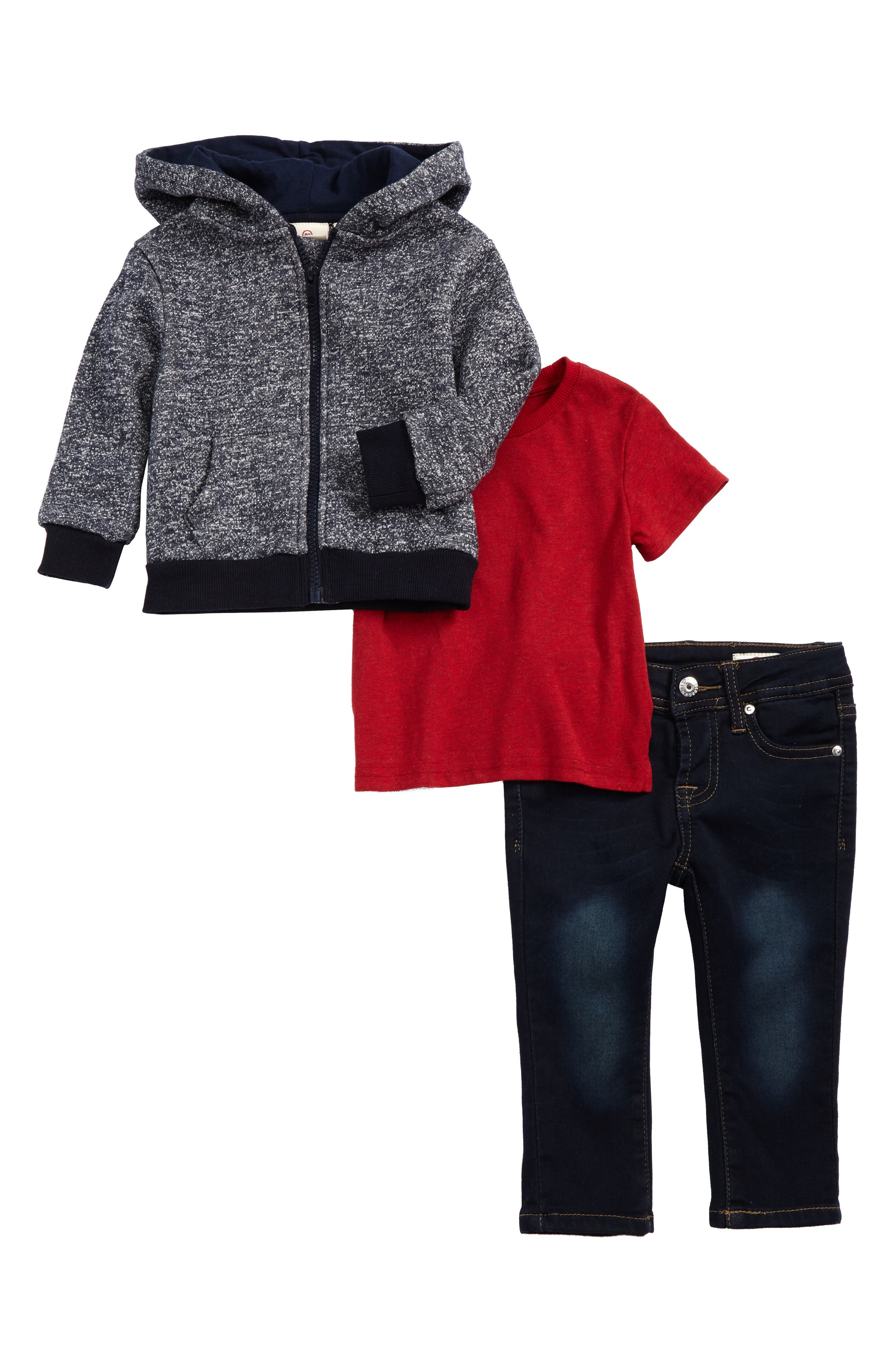 French Terry Hoodie, T-Shirt & Jeans Set,                         Main,                         color, Pacific Wash