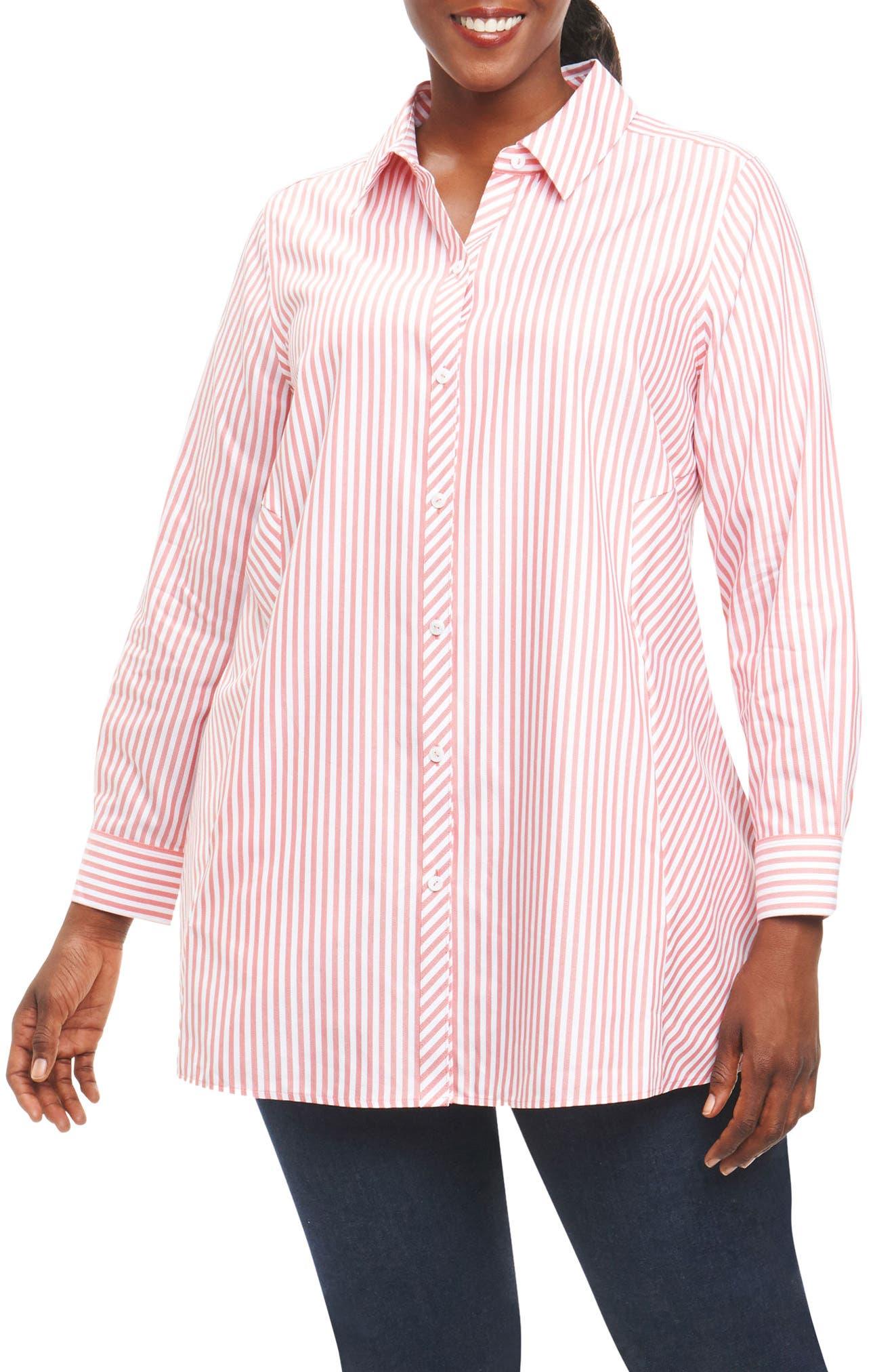 Foxcroft Cici Button Down Tunic Top (Plus Size)