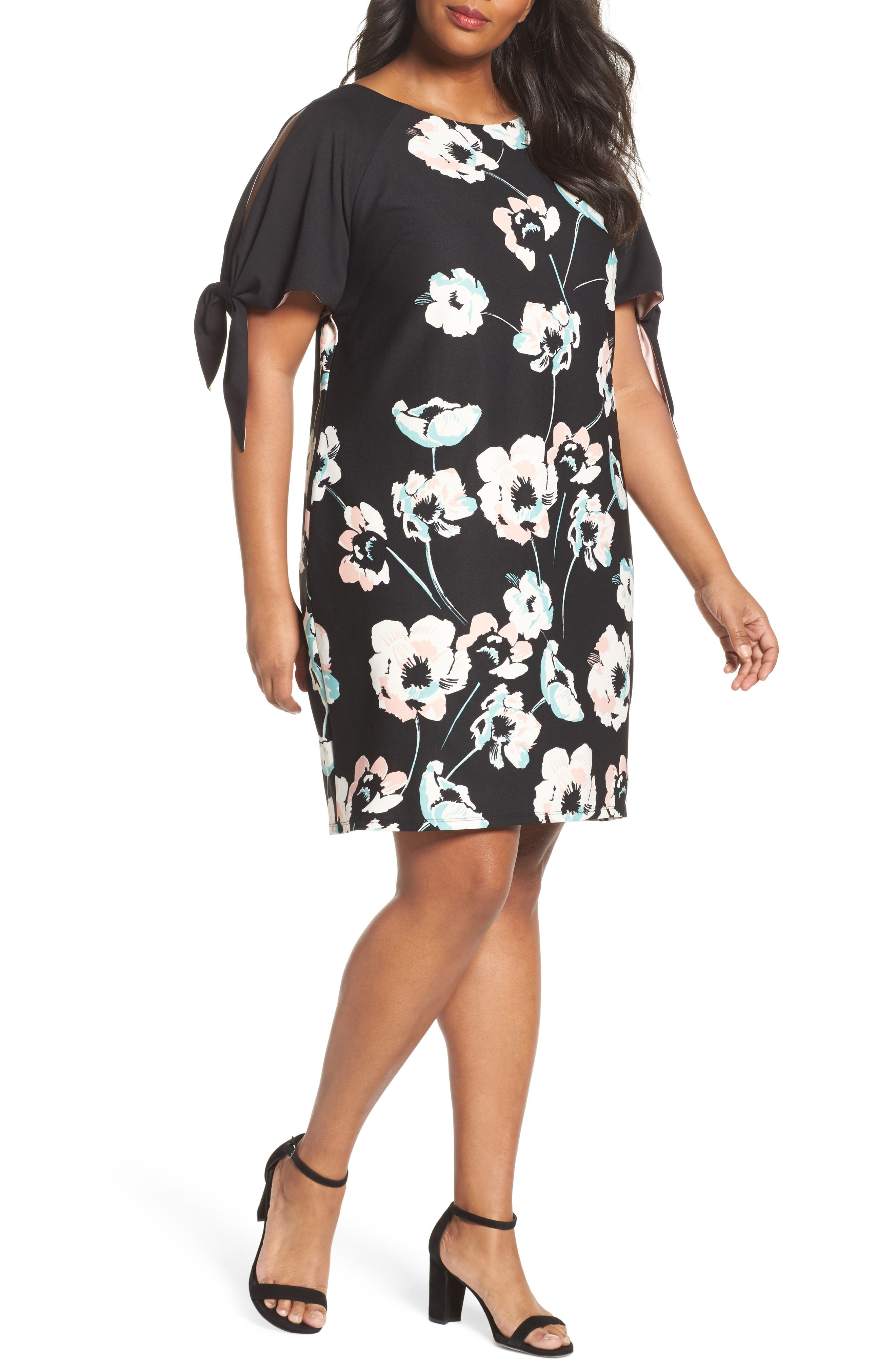Slit Sleeve Floral Shift Dress,                         Main,                         color, Black