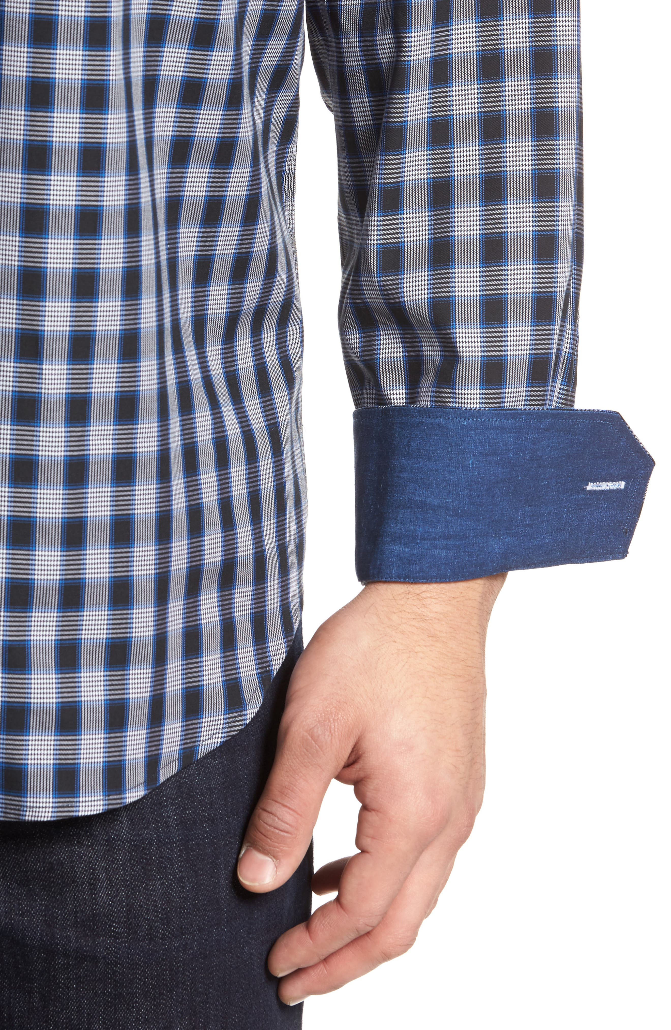 Classic Fit Check Sport Shirt,                             Alternate thumbnail 4, color,                             Midnight
