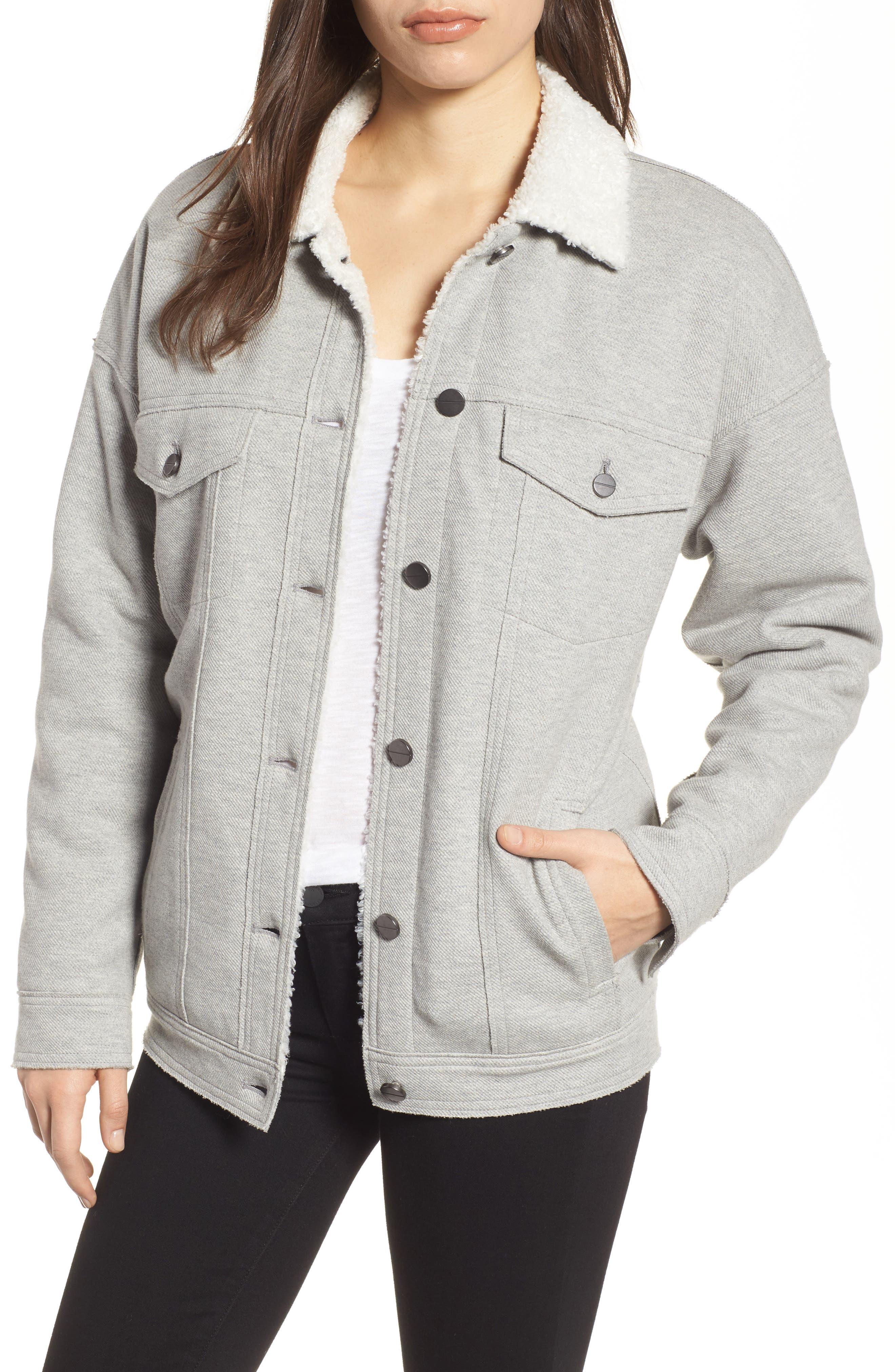 Knit Trucker Jacket,                         Main,                         color, Heather Gray