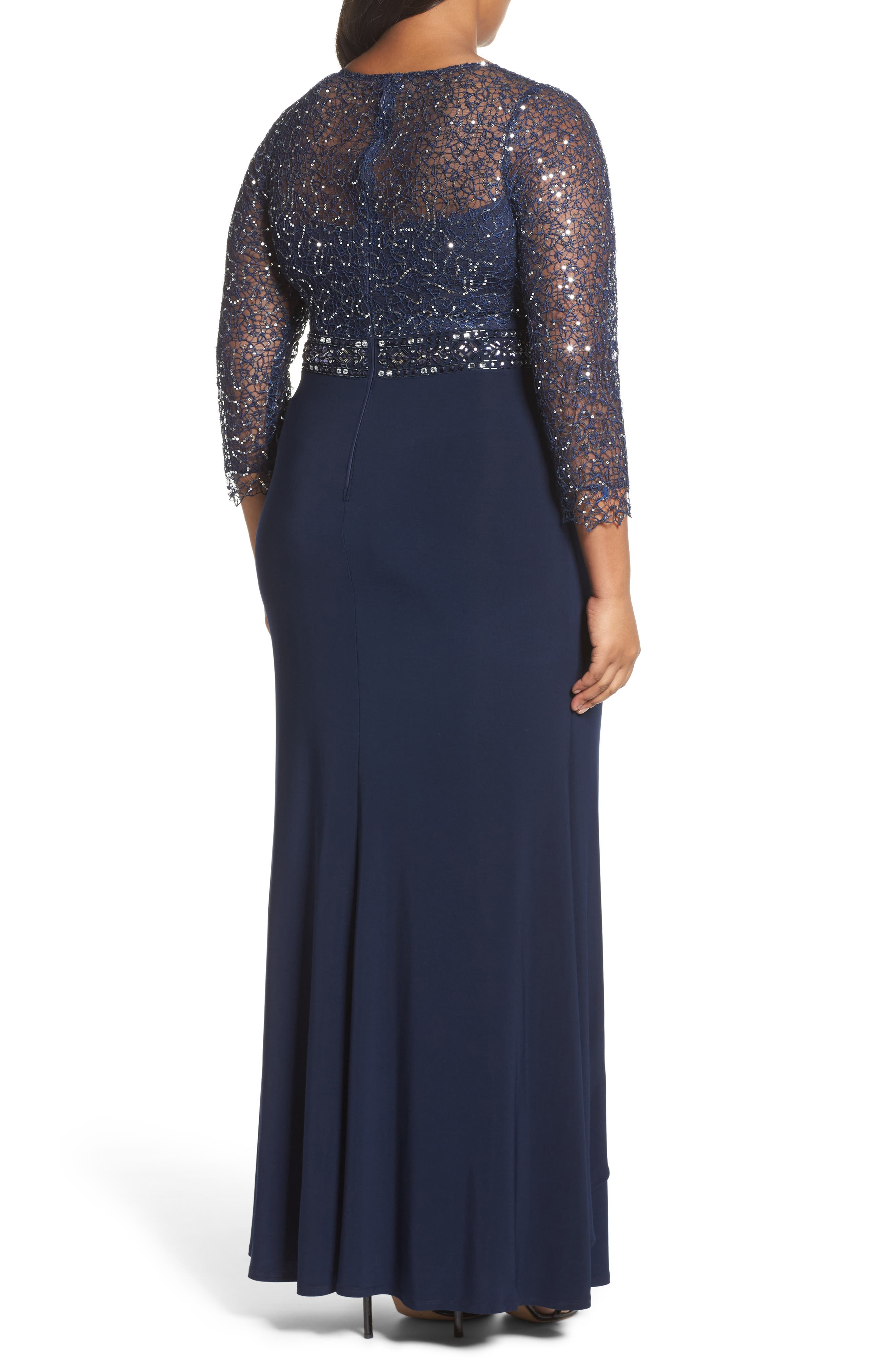 Lace & Jersey Gown,                             Alternate thumbnail 2, color,                             Navy