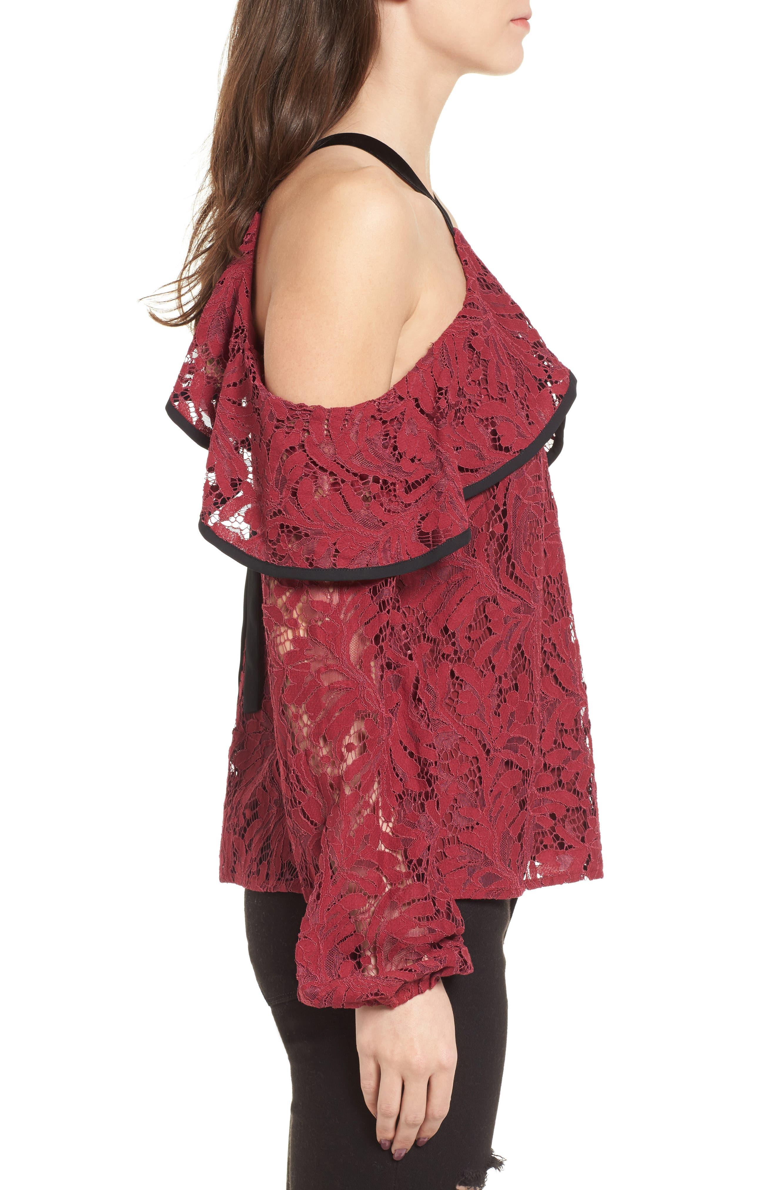 Helena Lace Top,                             Alternate thumbnail 3, color,                             Burgundy
