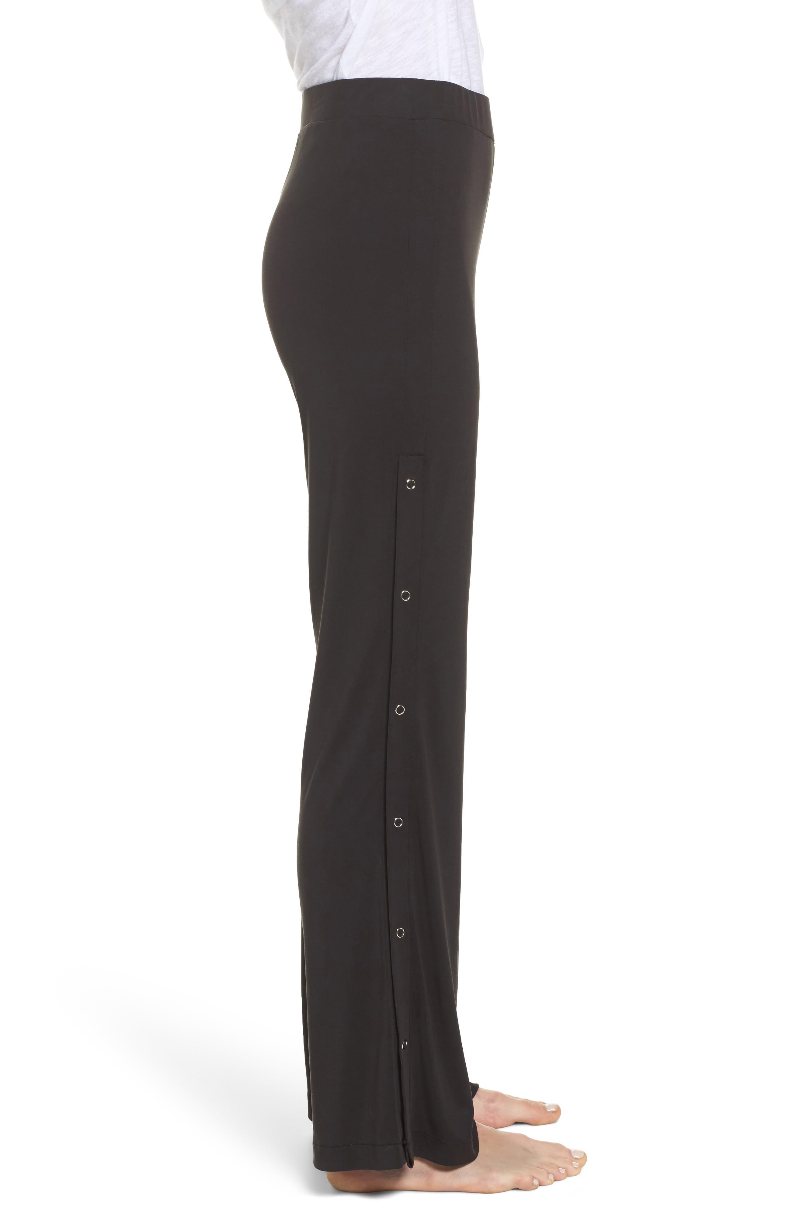 Higgens Side Snap Lounge Pants,                             Alternate thumbnail 3, color,                             Black