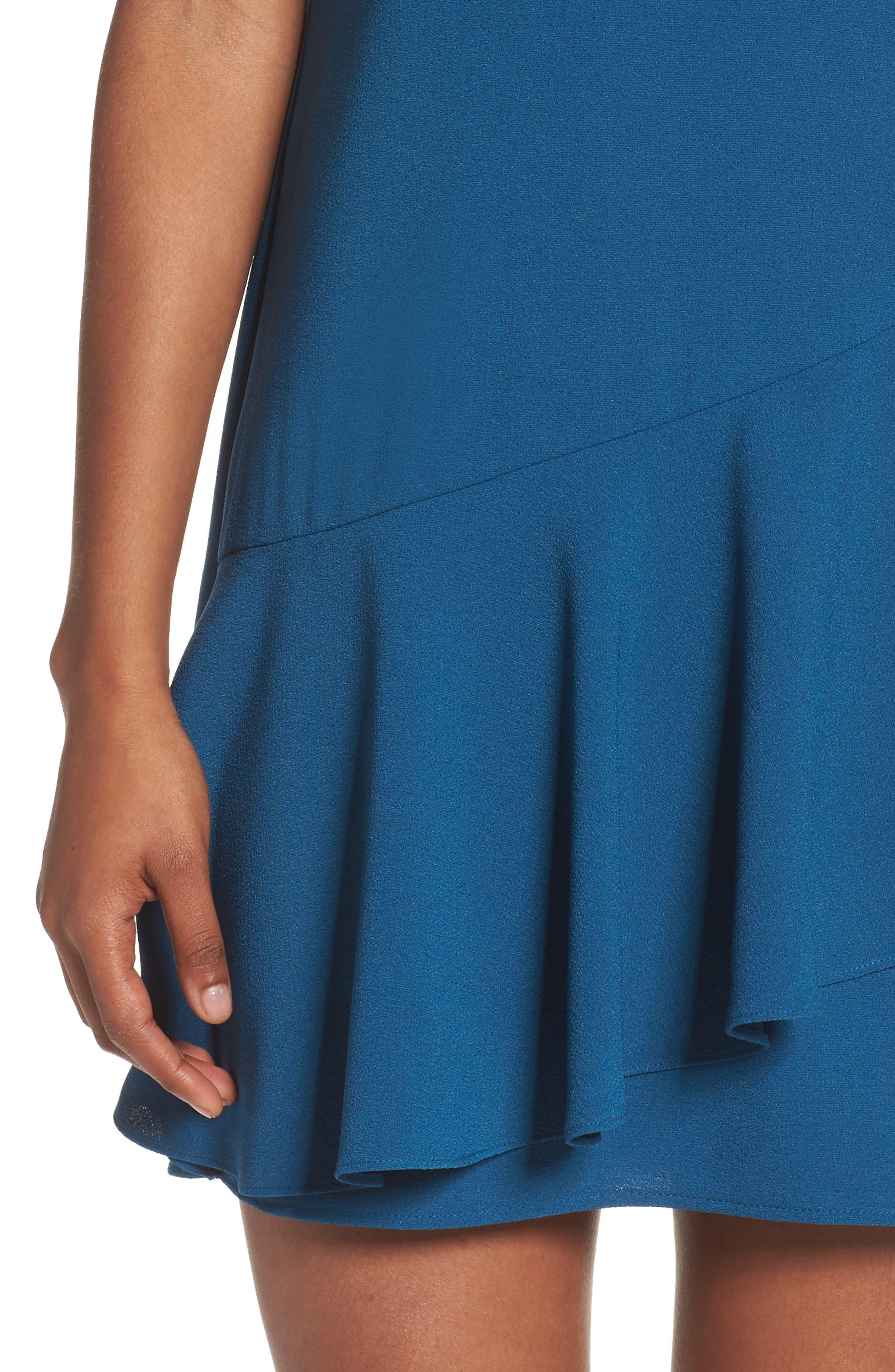 Asymmetrical Ruffle Shift Dress,                             Alternate thumbnail 4, color,                             Spruce