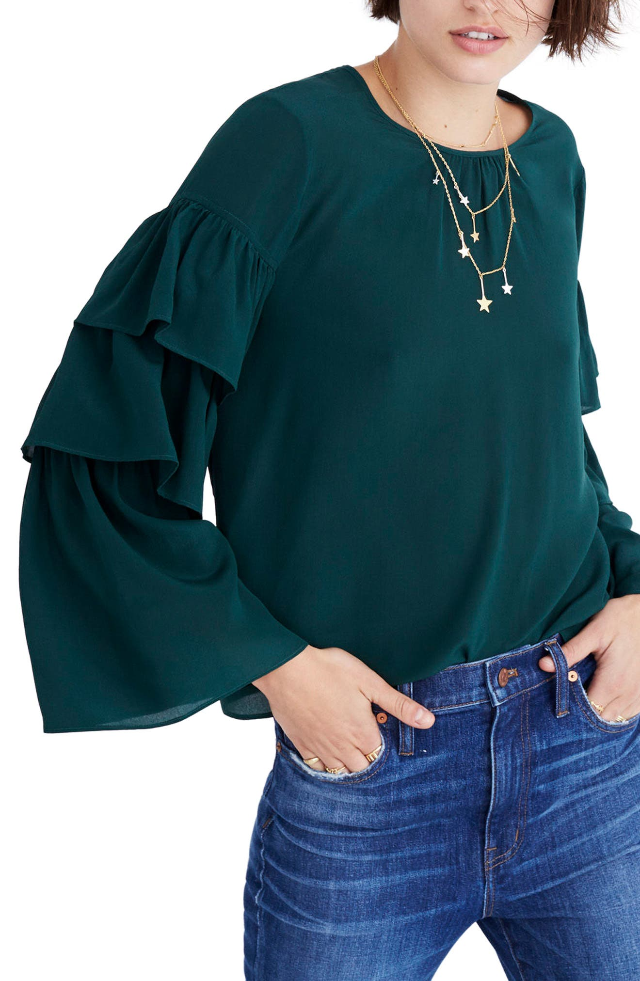 Ruffle Sleeve Silk Top,                             Main thumbnail 1, color,                             Bowling Green