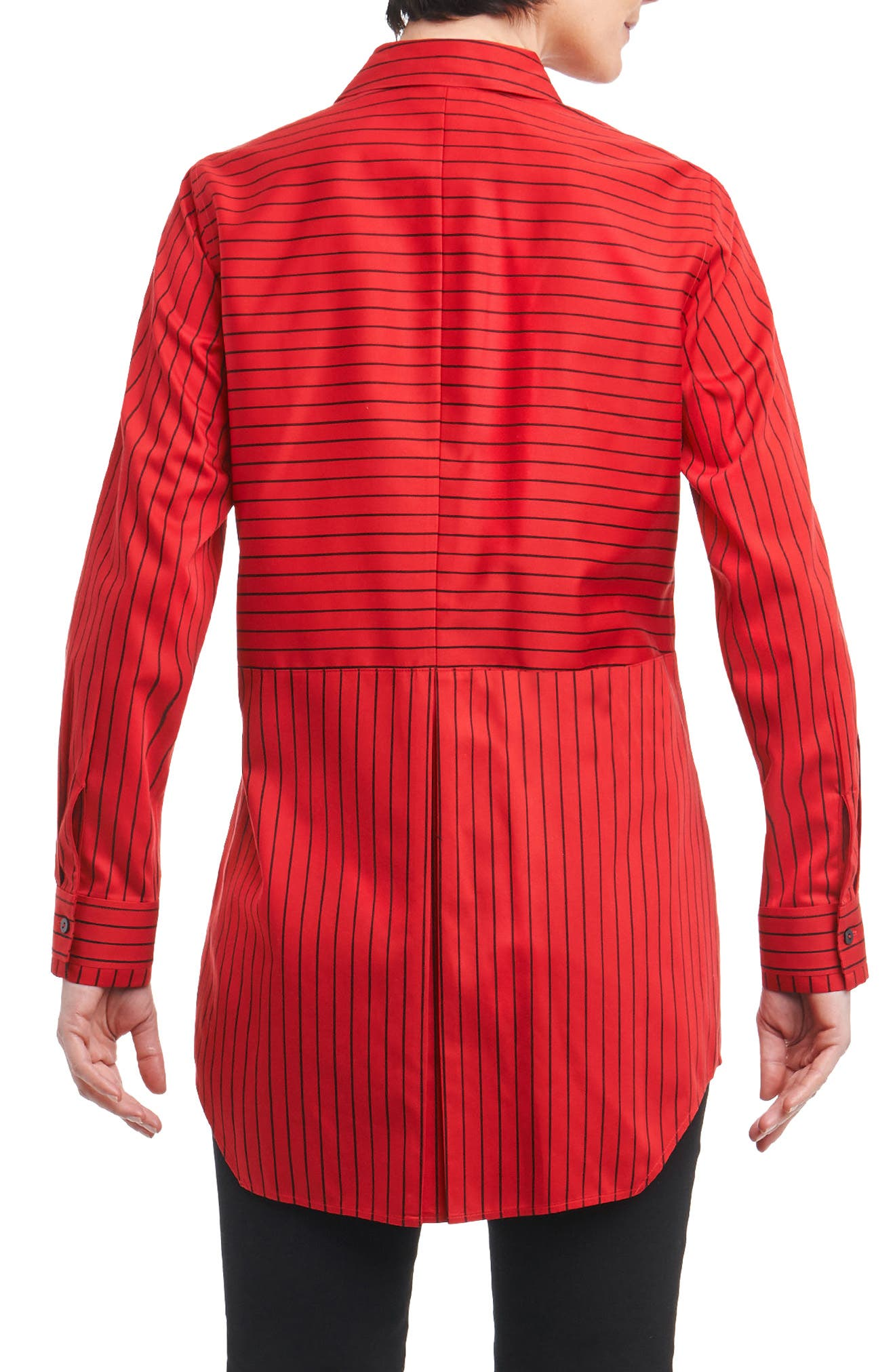Gina in Holiday Stripe Shirt,                             Alternate thumbnail 2, color,                             Scarlet