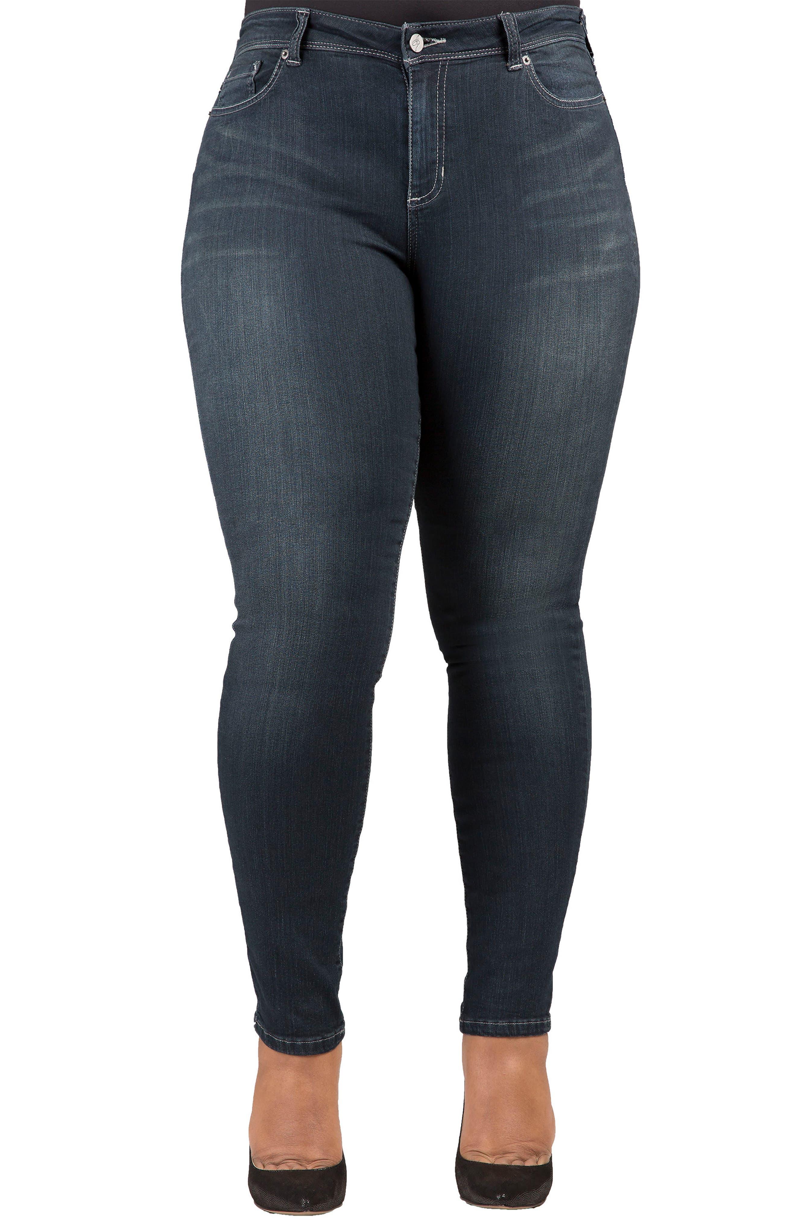 Alternate Image 1 Selected - Poetic Justice 'Maya' Stretch Skinny Jeans (Dark Blue) (Plus Size)