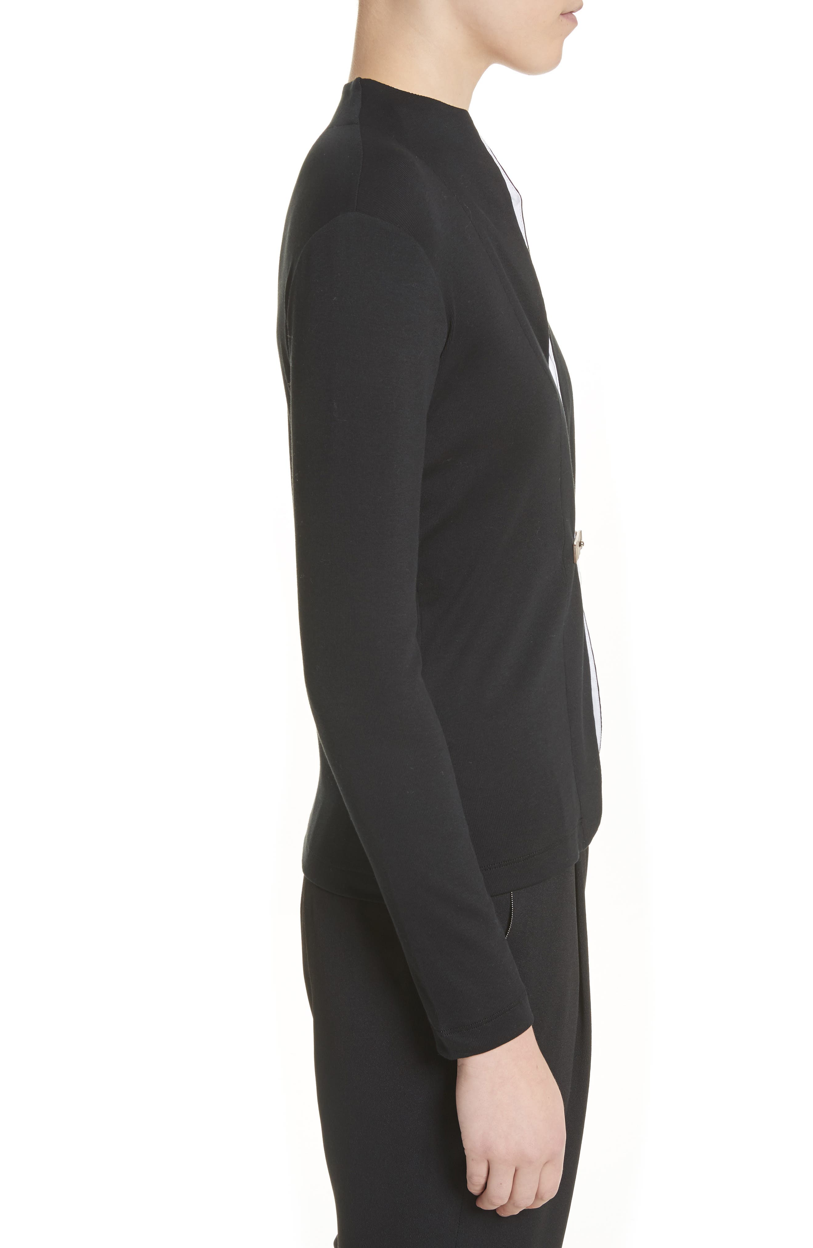 Cotton Blend Cardigan with Insert,                             Alternate thumbnail 4, color,                             Black White