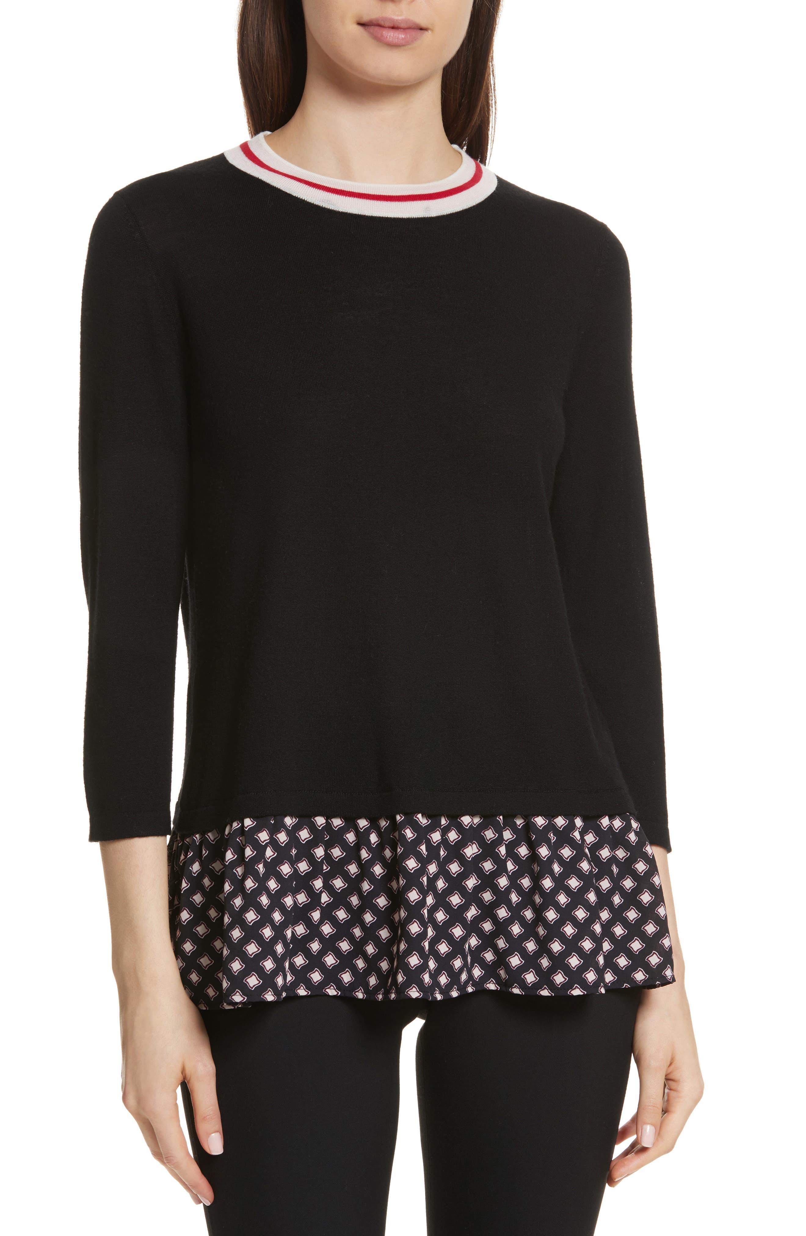 mixed media sweater,                         Main,                         color, Black