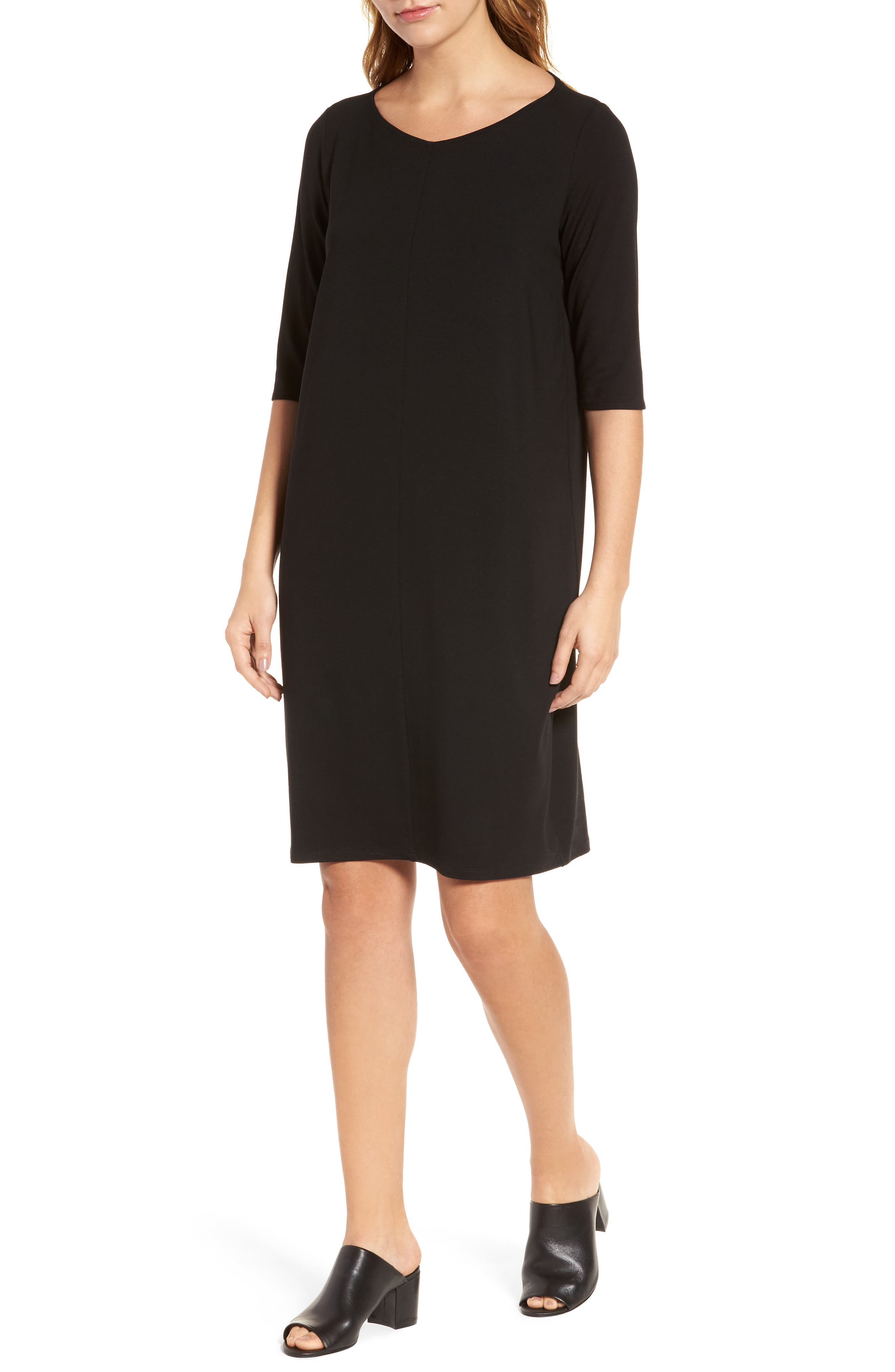 Jersey Shift Dress,                             Main thumbnail 1, color,                             Black
