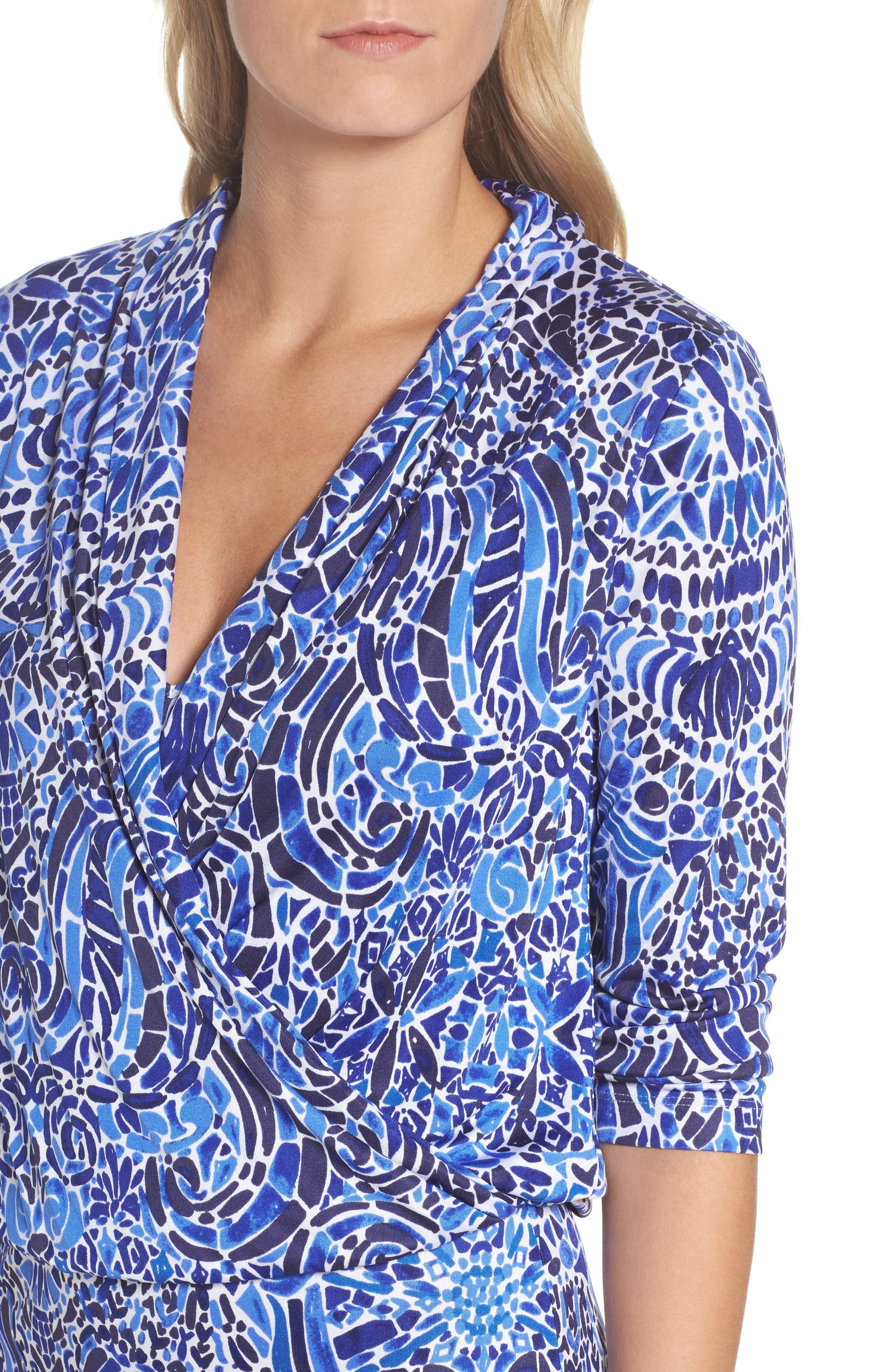 Felizia Silk Dress,                             Alternate thumbnail 4, color,                             Bright Navy Taverna Tile