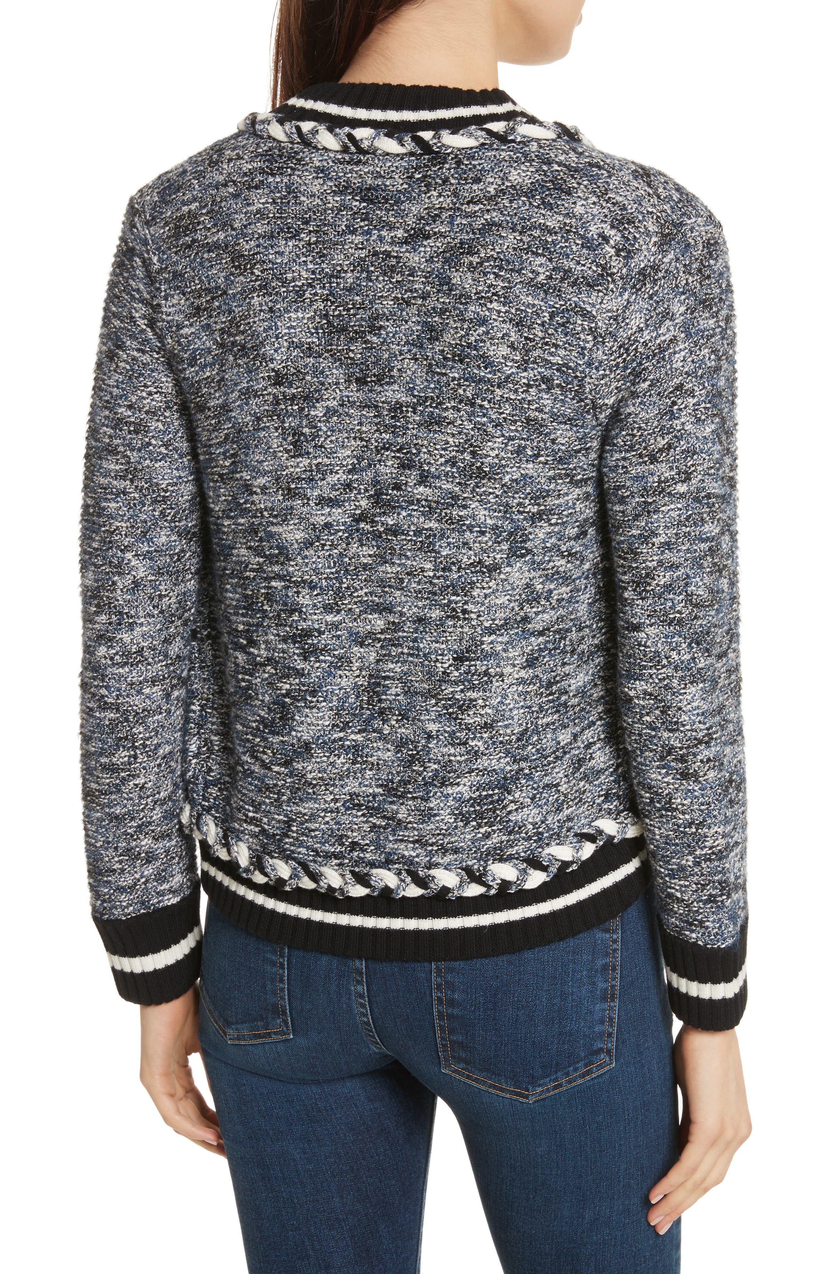 Davis Tweed Sweater Jacket,                             Alternate thumbnail 2, color,                             Navy