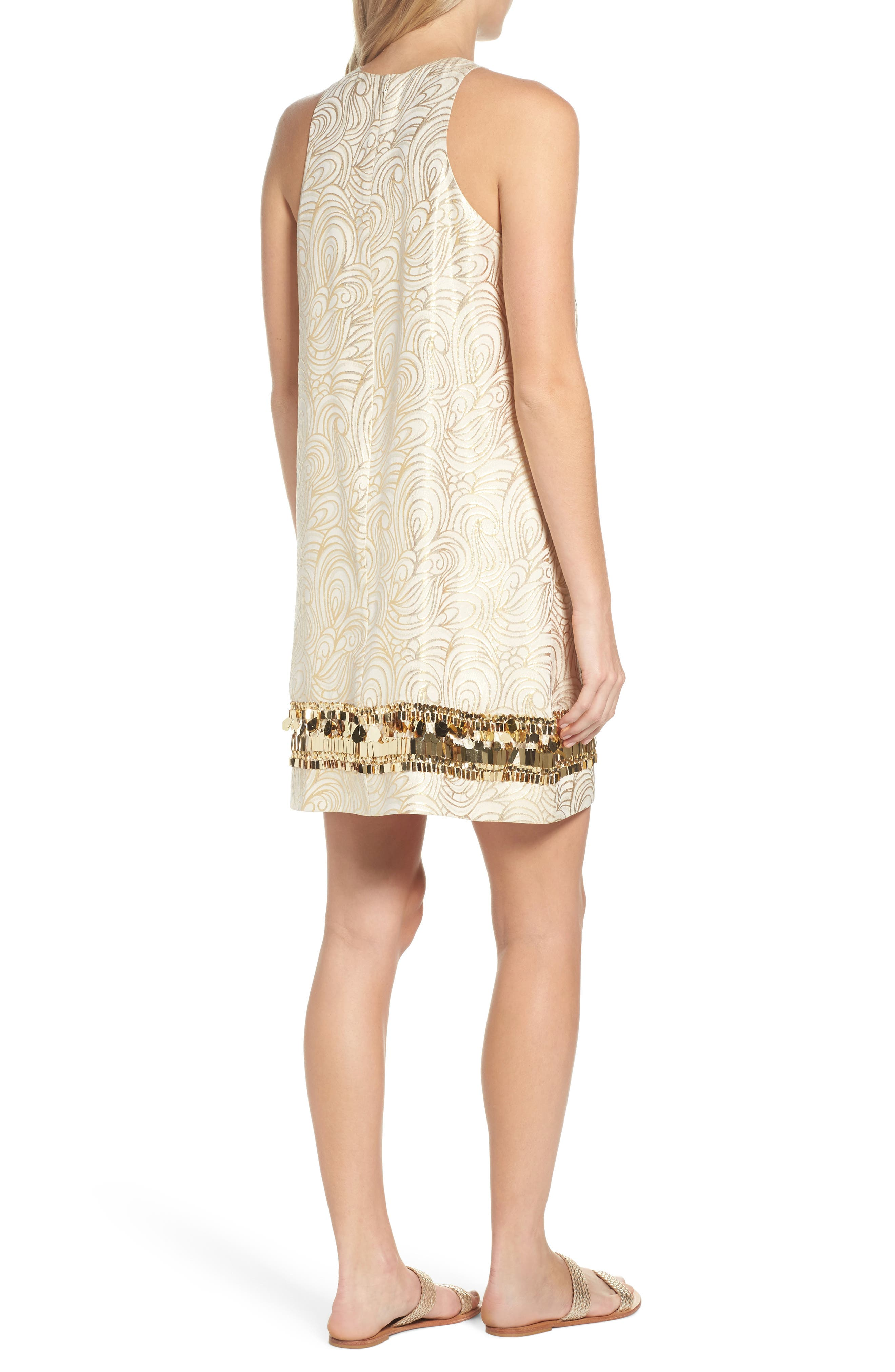 Diedra Shift Dress,                             Alternate thumbnail 2, color,                             Gold Tidal Wave Jacquard