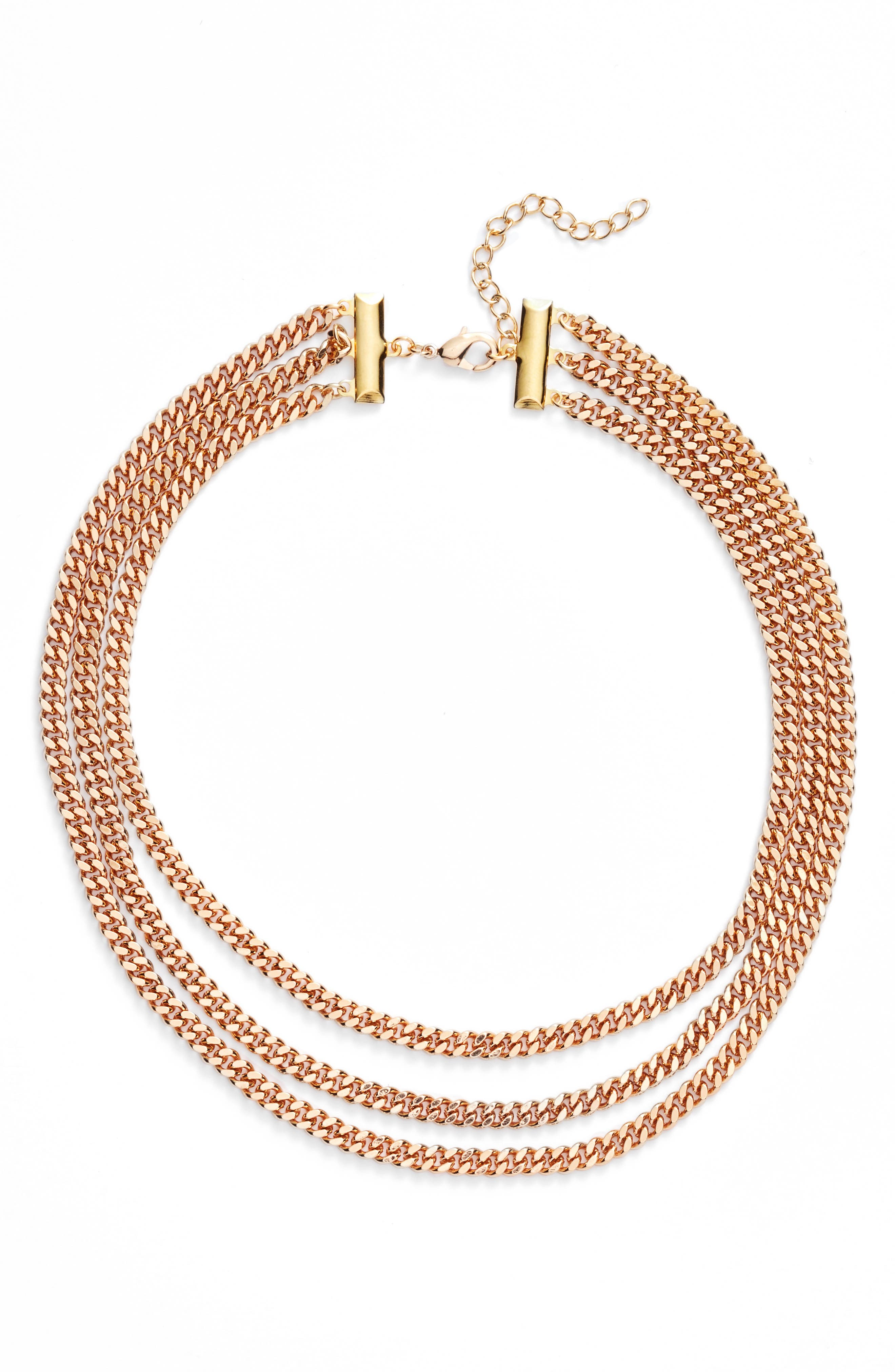 Layered Curb Chain Choker,                         Main,                         color, Gold