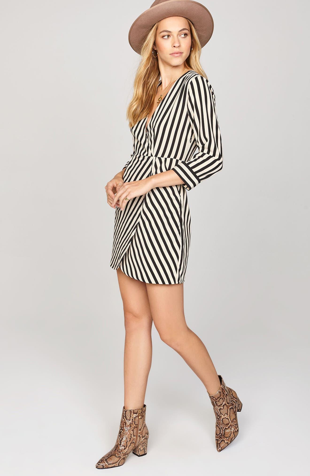 Caught You Looking Stripe Dress,                             Alternate thumbnail 3, color,                             Black Sands