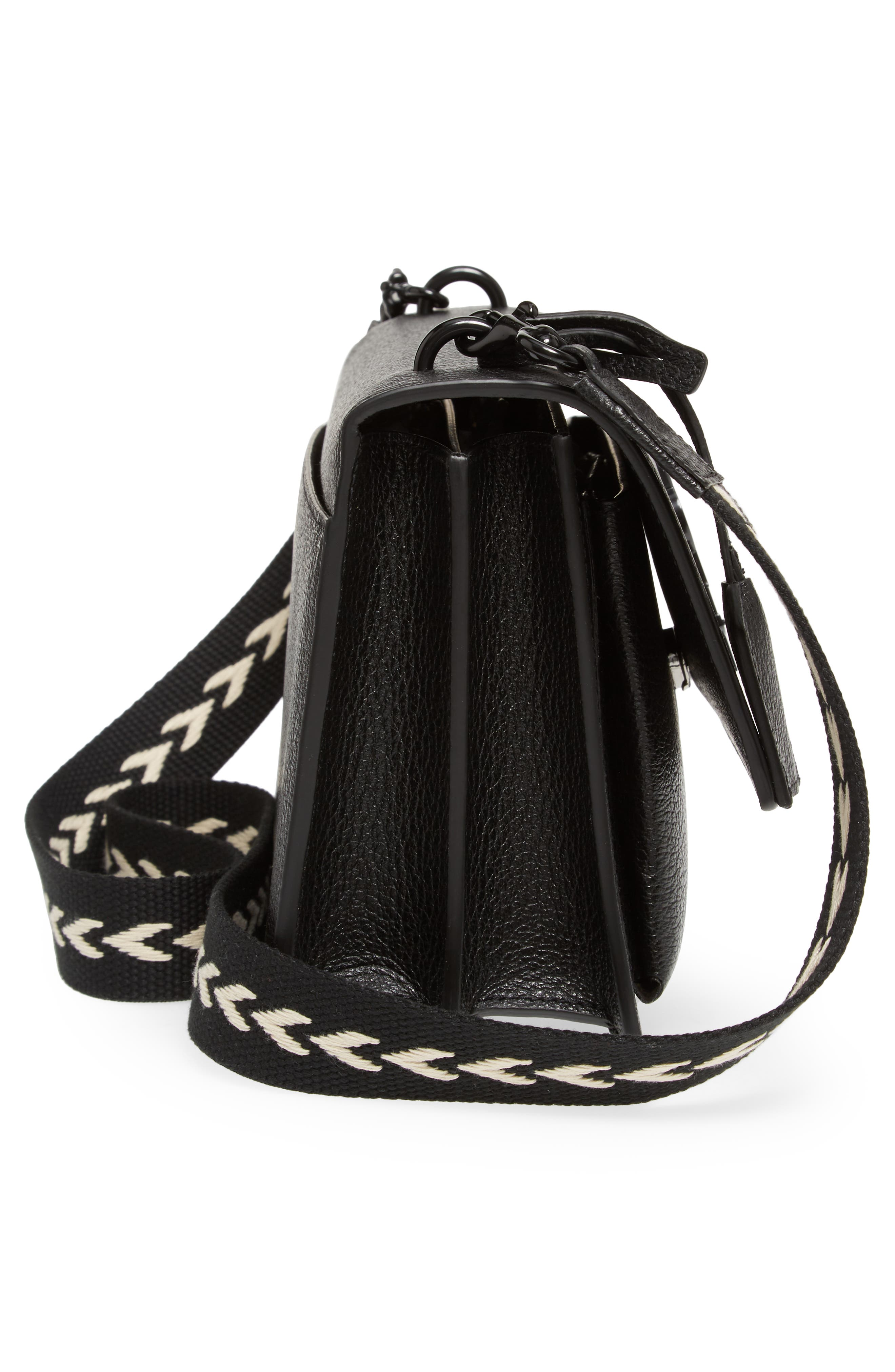 Medium Sunset Calfskin Shoulder Bag with Woven Guitar Strap,                             Alternate thumbnail 5, color,                             Noir