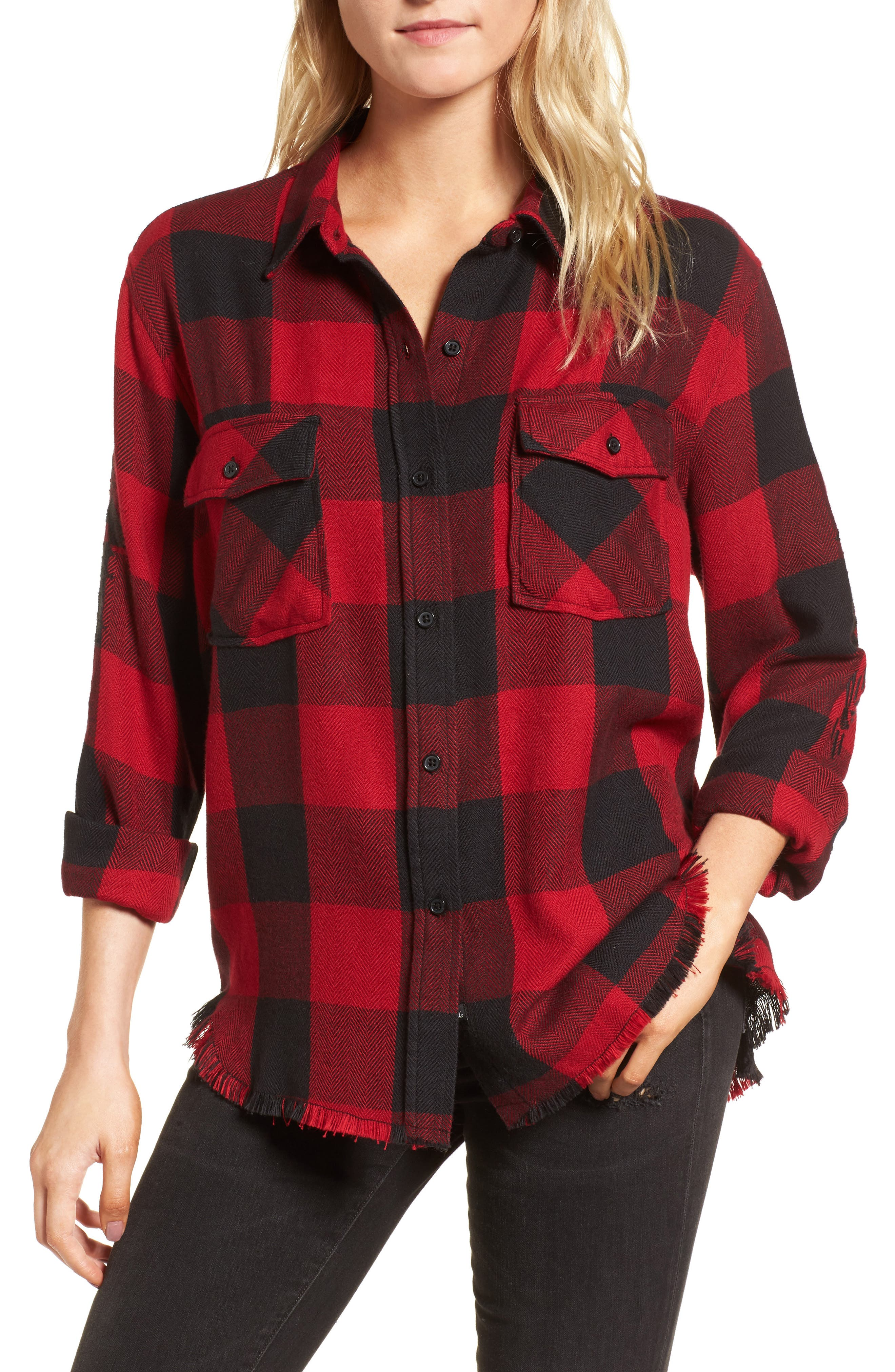 Larsson Embroidered Flannel Shirt,                             Main thumbnail 1, color,                             Crimson Jet