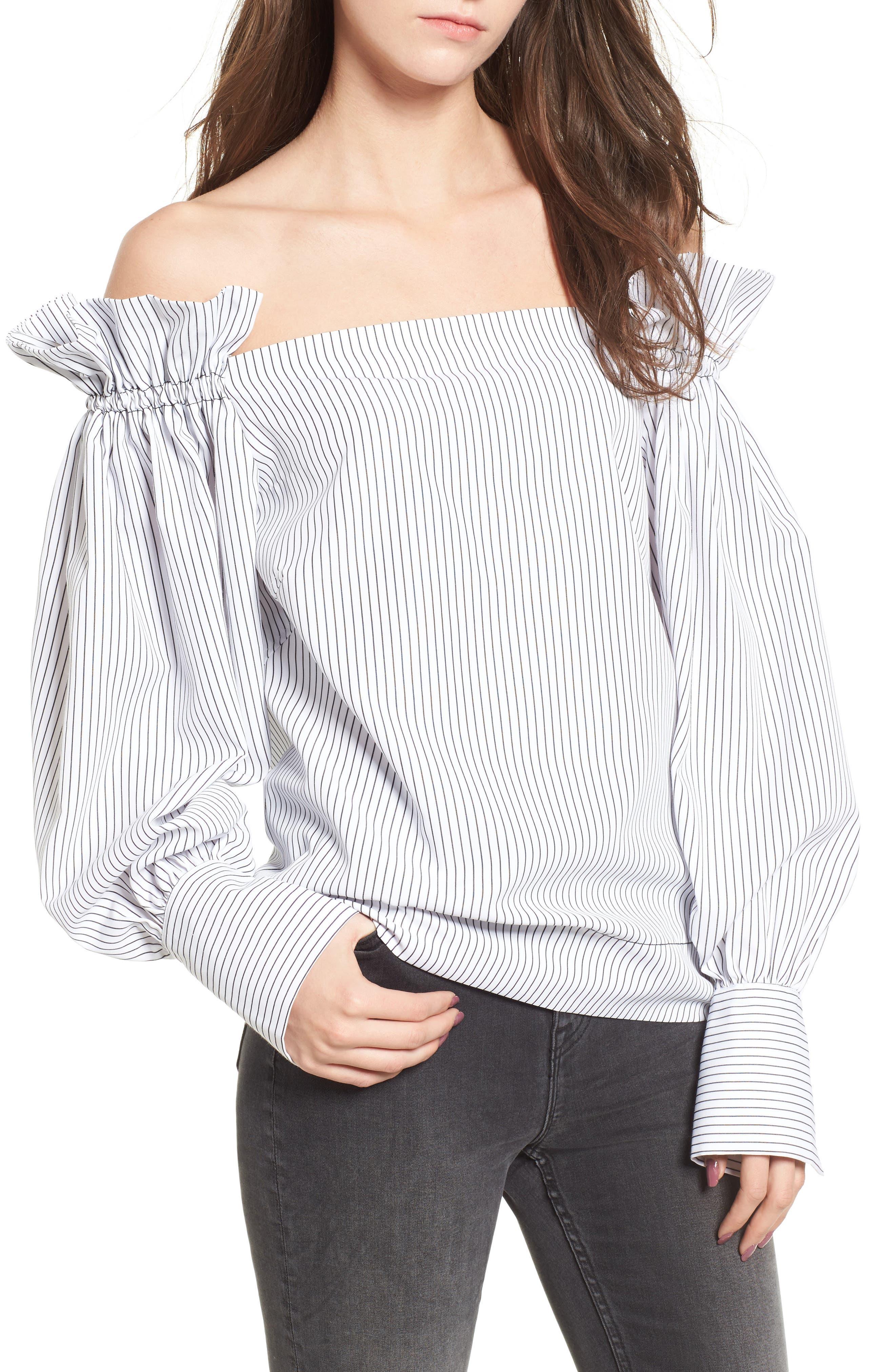 Lea & Viola Ruffle Off the Shoulder Top,                         Main,                         color, White/ Black