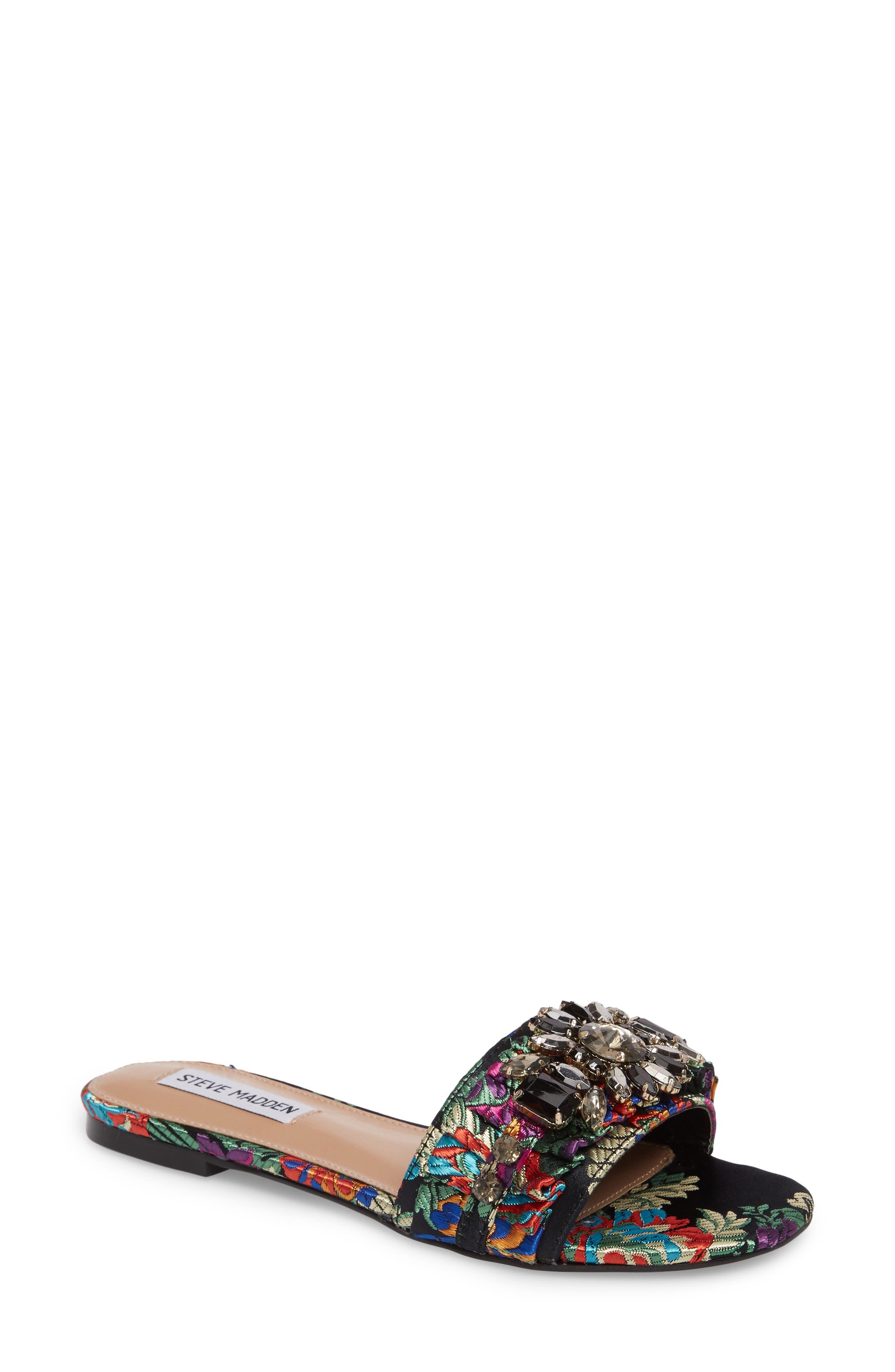 Pomona Crystal Embellished Slide Sandal,                             Main thumbnail 1, color,                             Black Multi