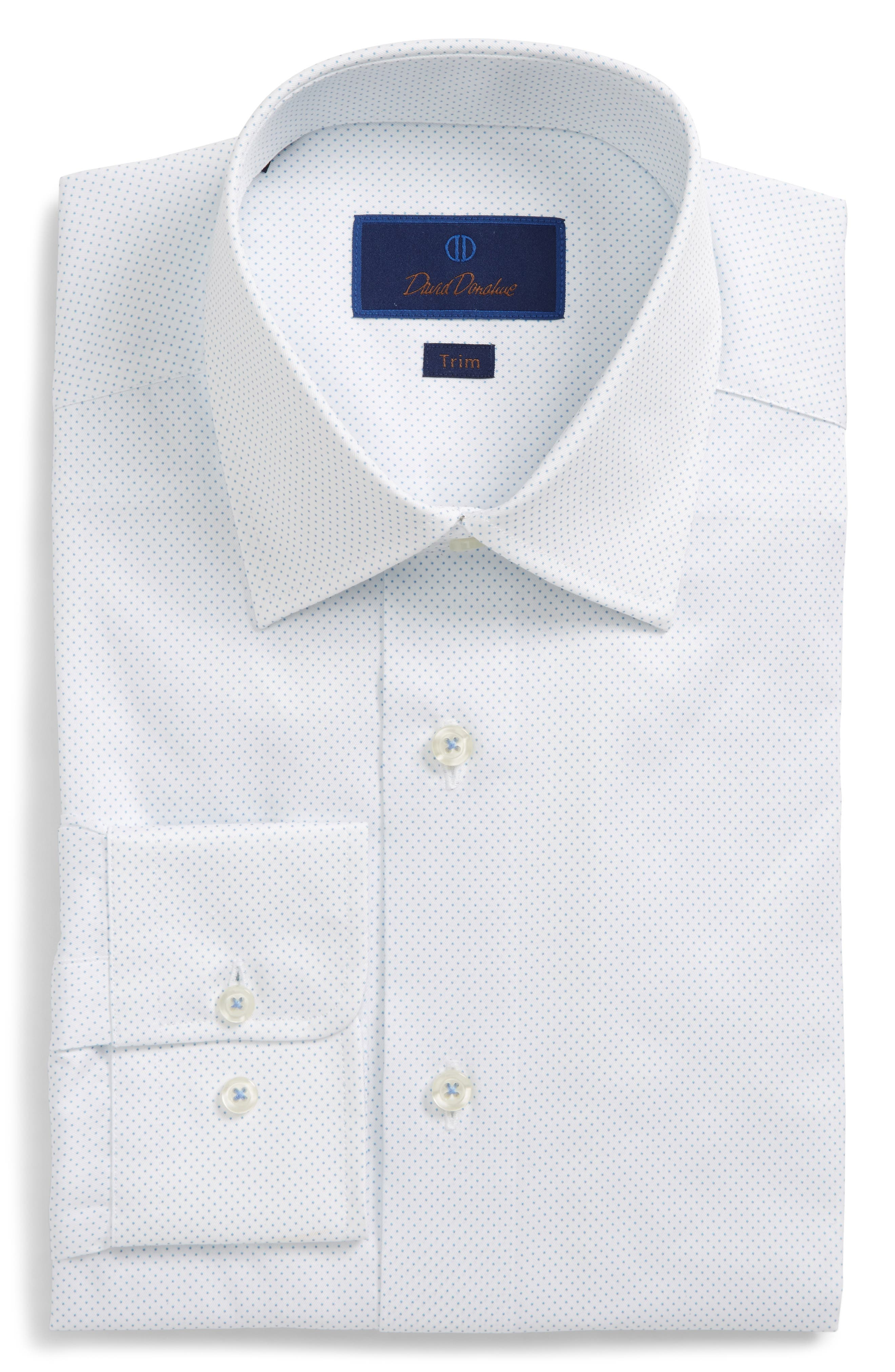 Trim Fit Dot Dress Shirt,                         Main,                         color, White/ Blue