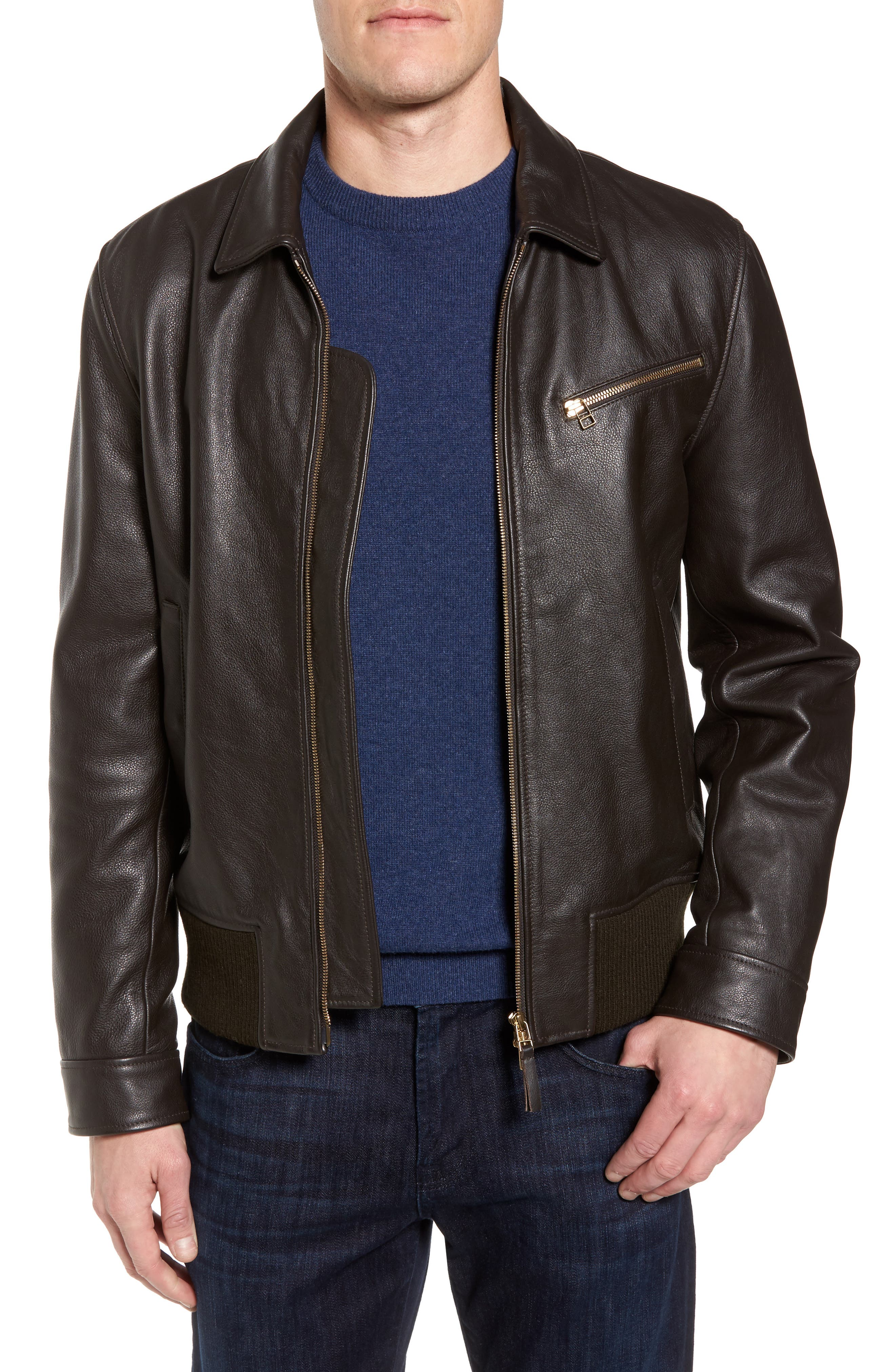 Year Round Leather Jacket,                         Main,                         color, Espresso Brown
