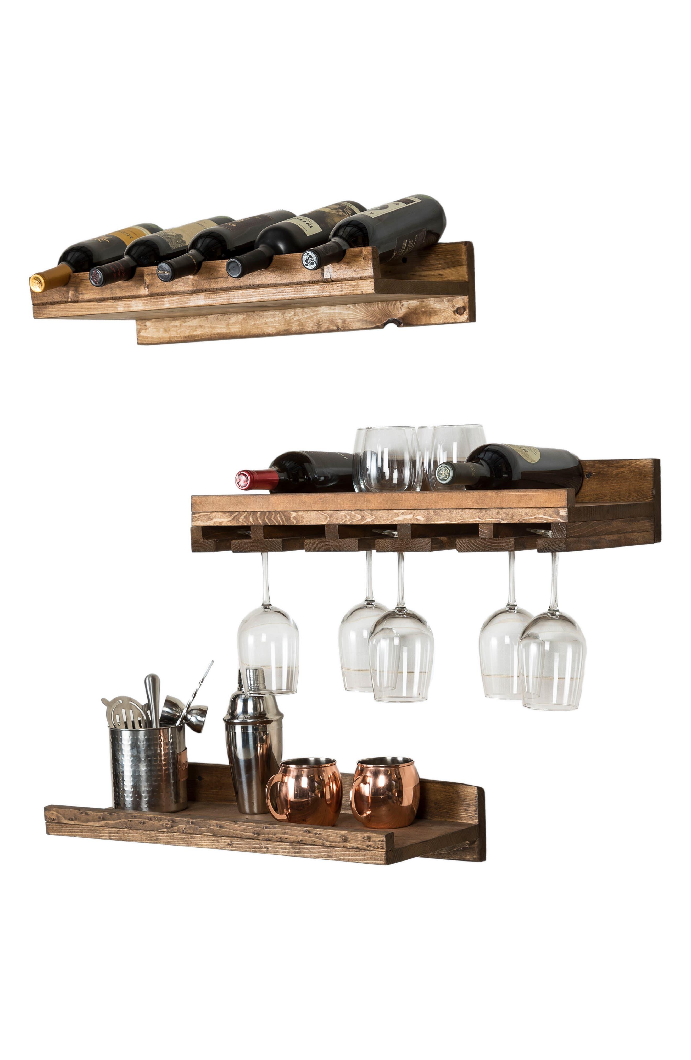 Set of 3 Pine Wood Wine Racks,                             Alternate thumbnail 10, color,                             Dark Walnut