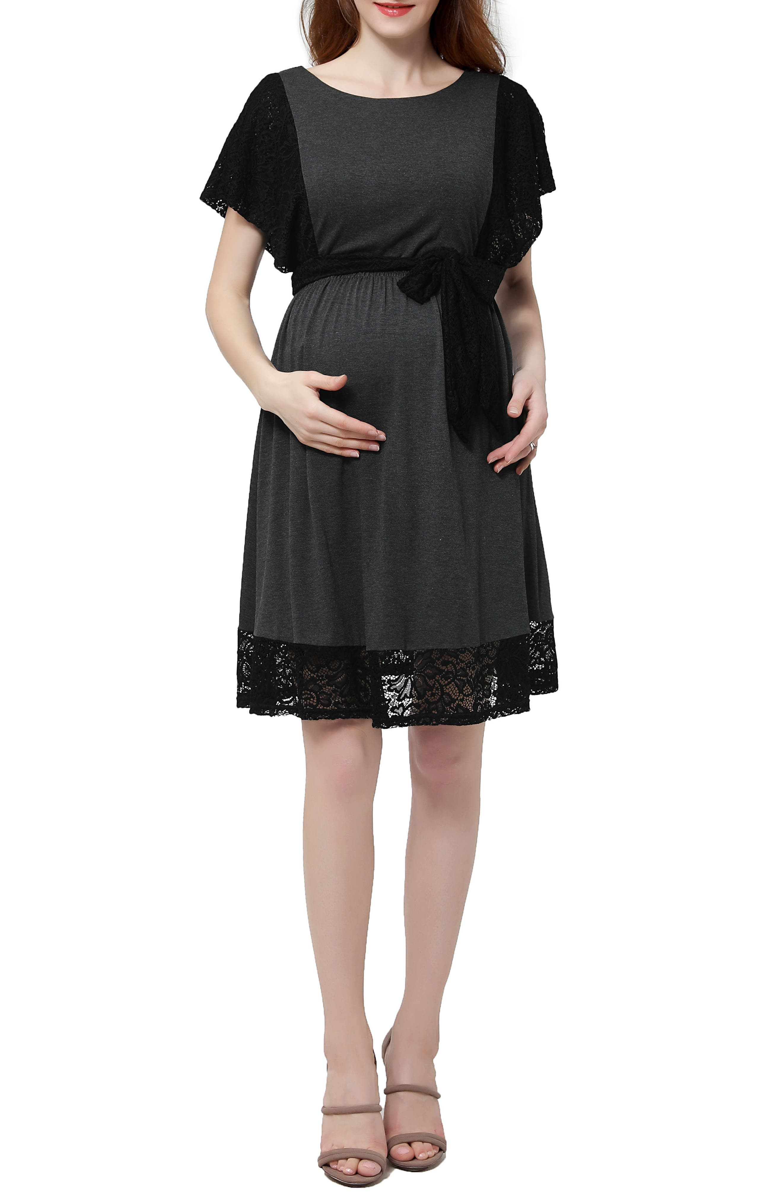 Kimi and Kai Alison Lace Trim Maternity Dress